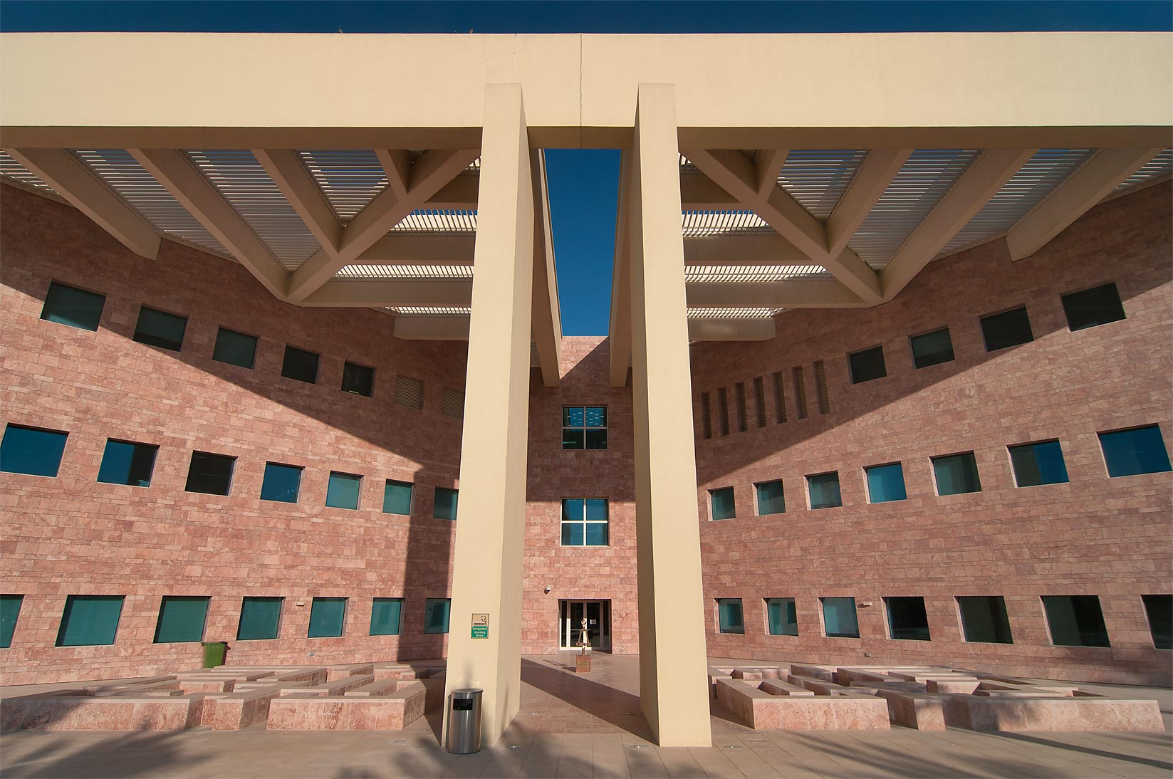 West entrance of TAMUQ research area (Texas A and...City campus, in full sun. Doha, Qatar