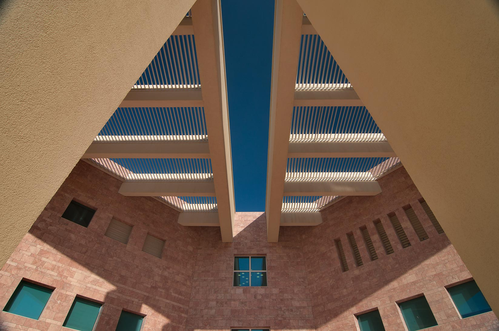 Beam structure at west entrance of TAMUQ research...in Education City campus. Doha, Qatar