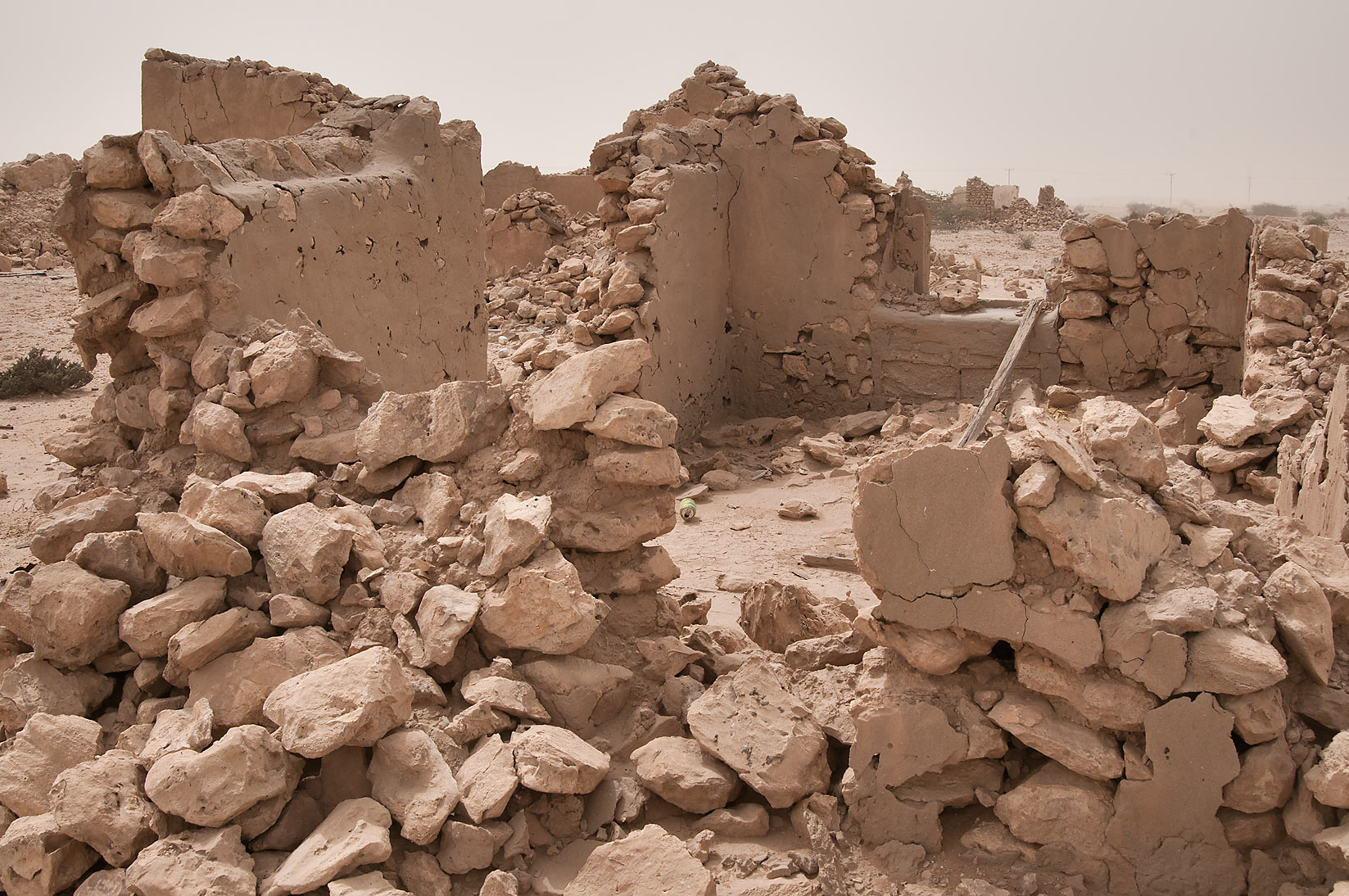 Ruins of buildings of old village of Jamilla in Al-Jumayliyah (Aljumileh). Qatar