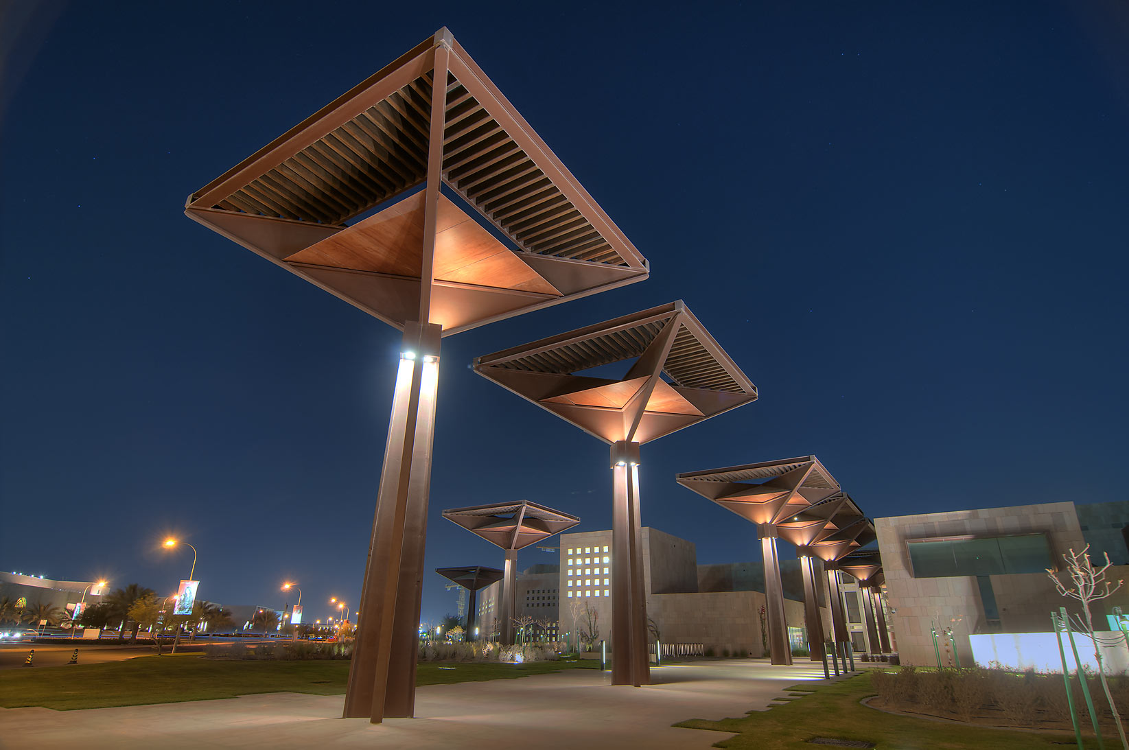 Hamad Bin Khalifa Student Center on campus of Education City at evening. Doha, Qatar