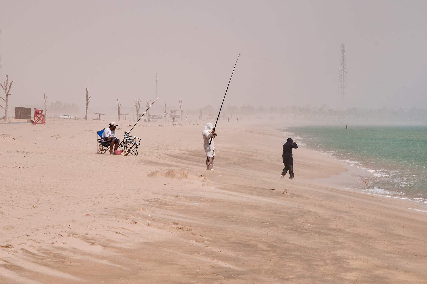 Mesaieed beach during sand storm. Qatar