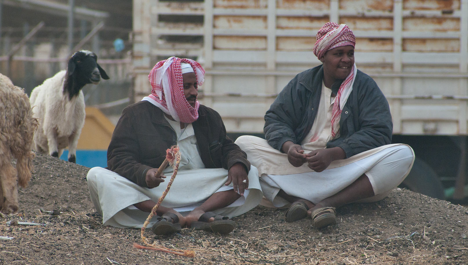 Two shepherds sitting on gravel hills opposite to...wholesale markets area. Doha, Qatar