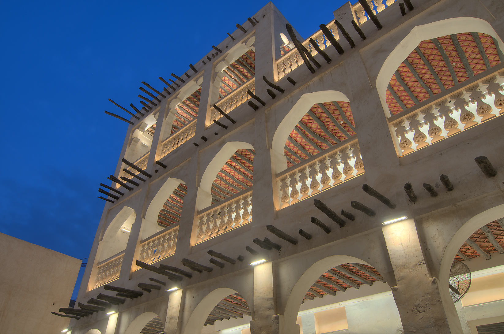 New galleries with exposed timber beams of Bird...Jaidah behind Souq Waqif. Doha, Qatar