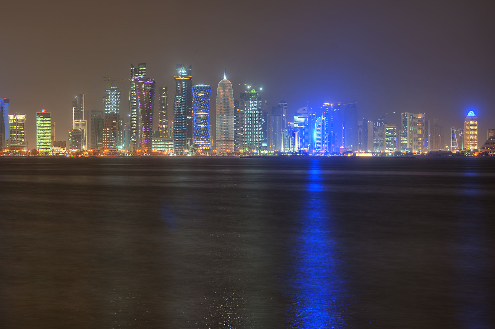 West Bay from Corniche opposite to Al Bidda Park at night. Doha, Qatar