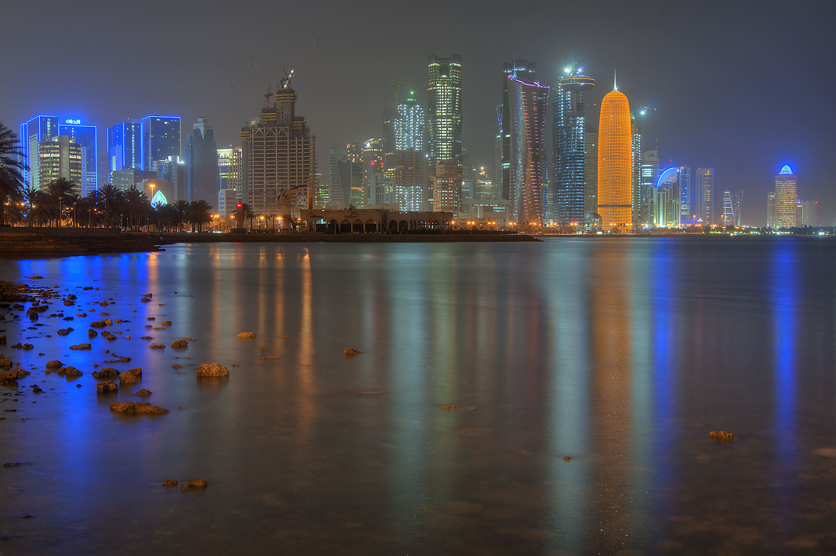West Bay reflections from Corniche opposite to Al Bidda Park. Doha, Qatar