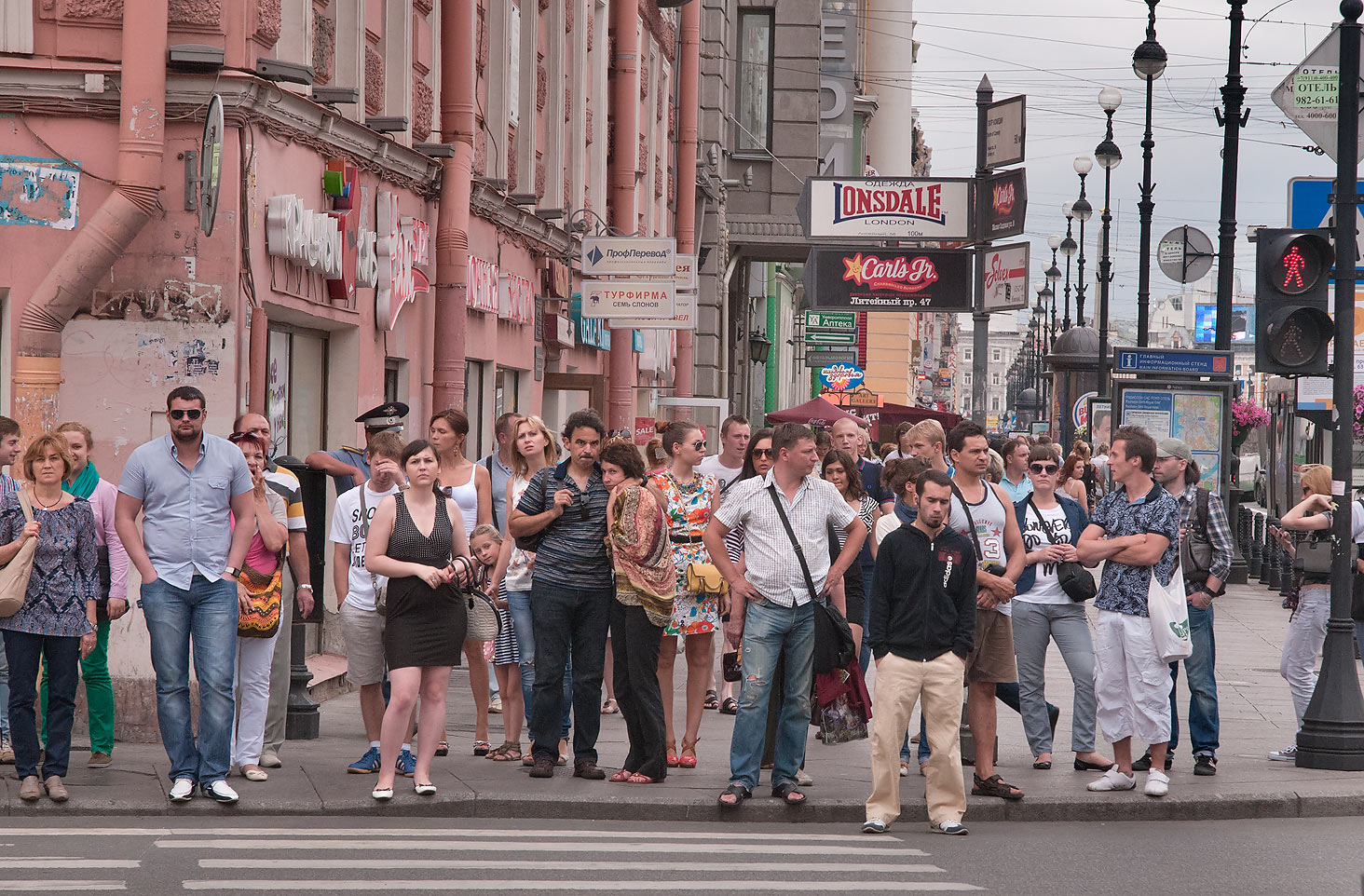 Pedestrians on Nevsky Prospect crossing Liteyny. St.Petersburg, Russia