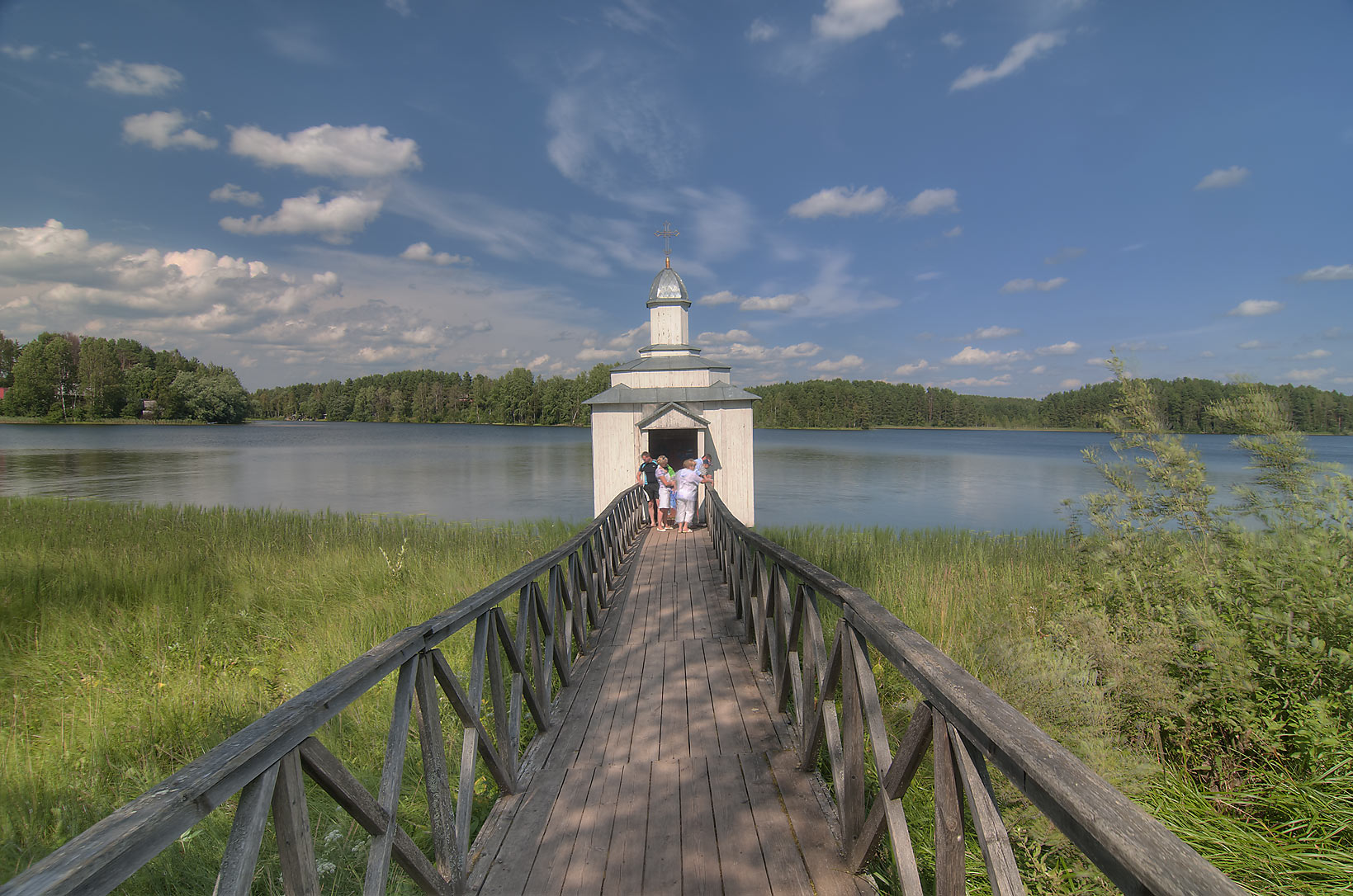 Troitsky chapel bathhouse on Pogostskoe Lake in...Pole, Leningrad Region, Russia