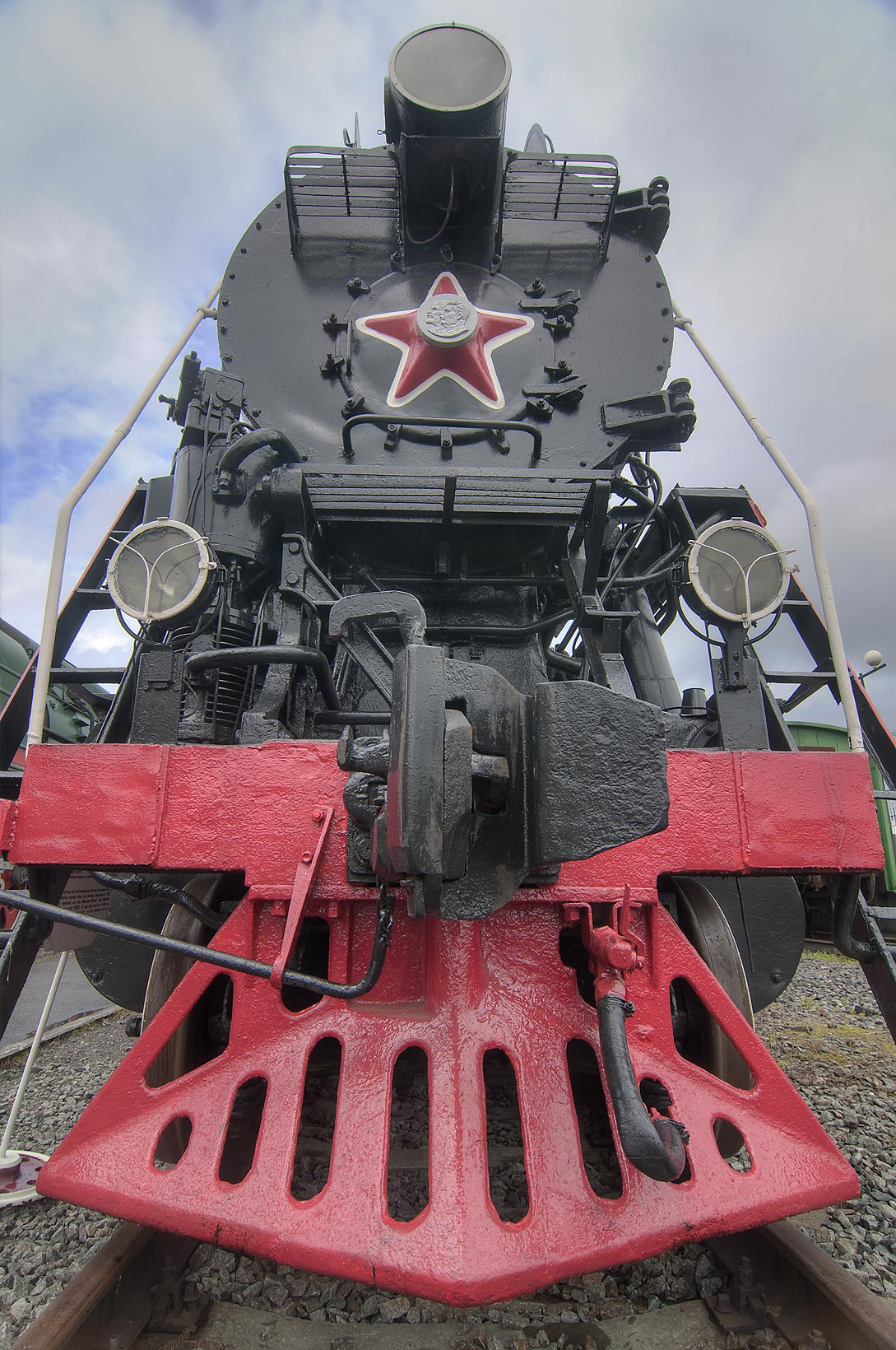 Steam train in a railroad museum on Varshavsky Train Station. St.Petersburg, Russia