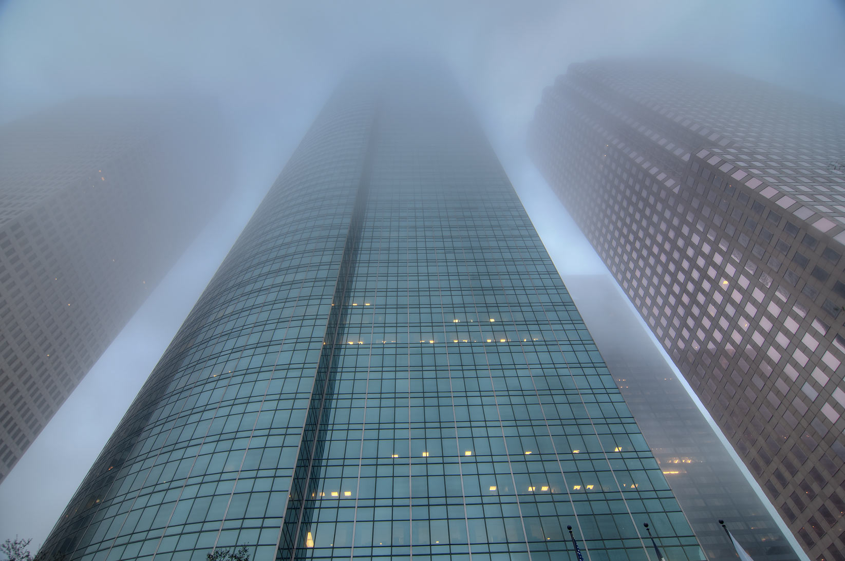 High rise buildings in downtown in fog. Houston, Texas