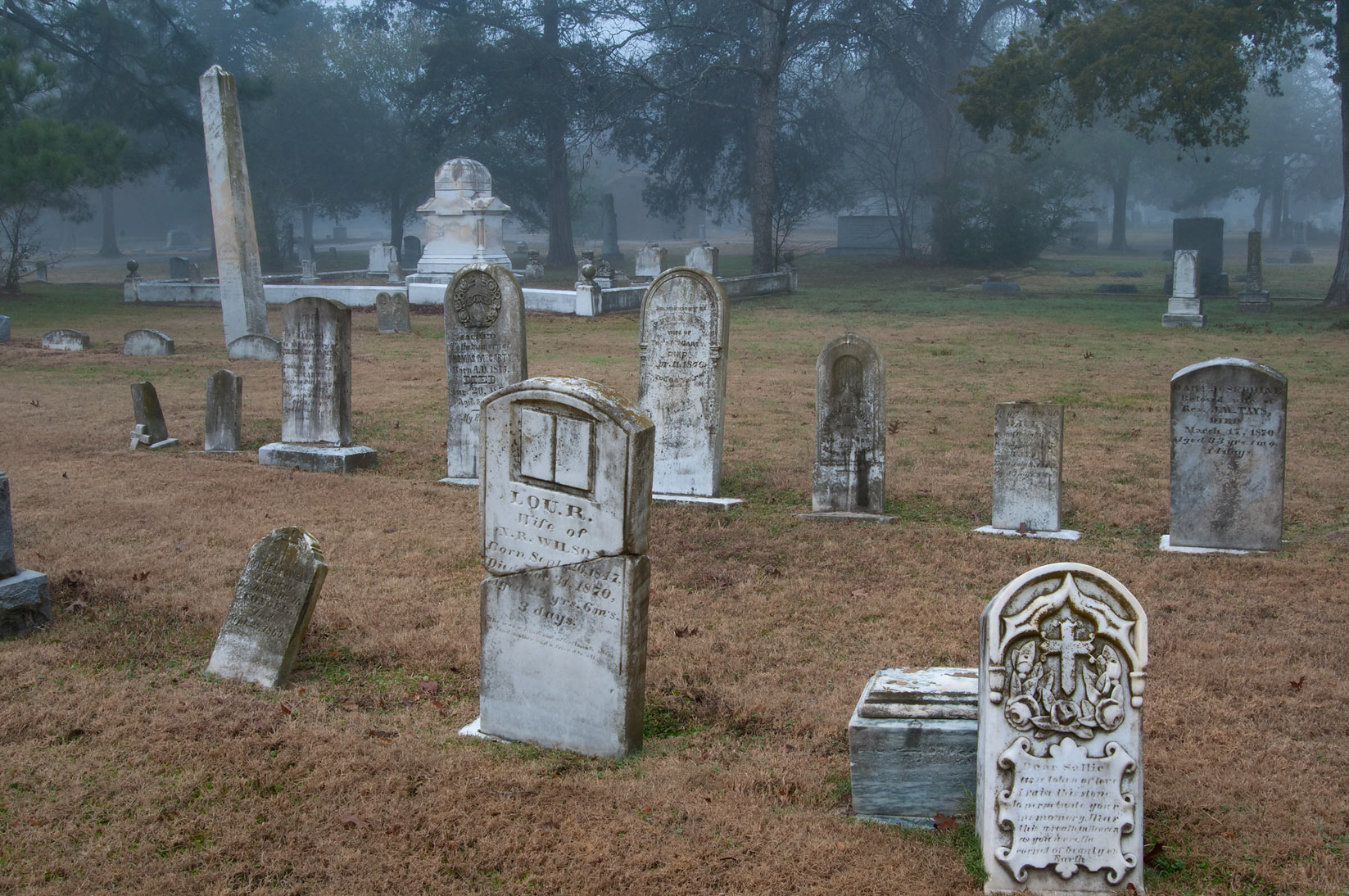 Old tombstones in City Cemetery in fog. Bryan, Texas