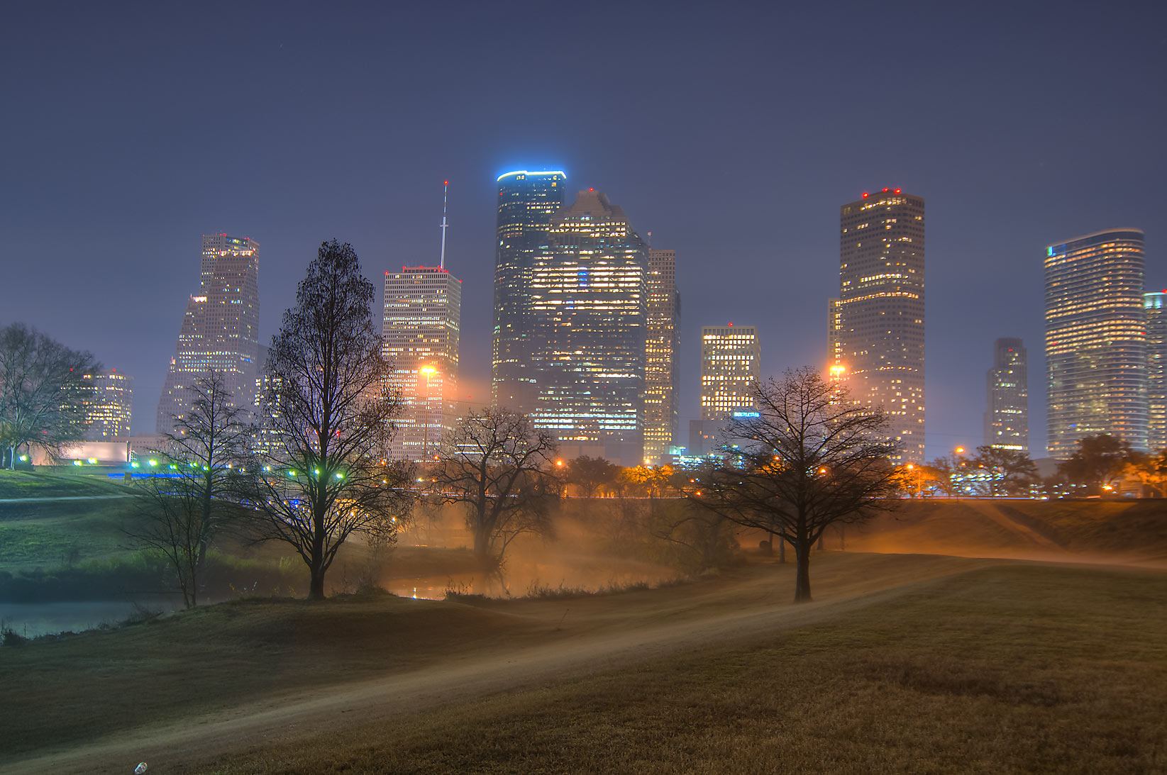 Houston, Texas  - Buffalo Bayou in mist. Houston, Texas