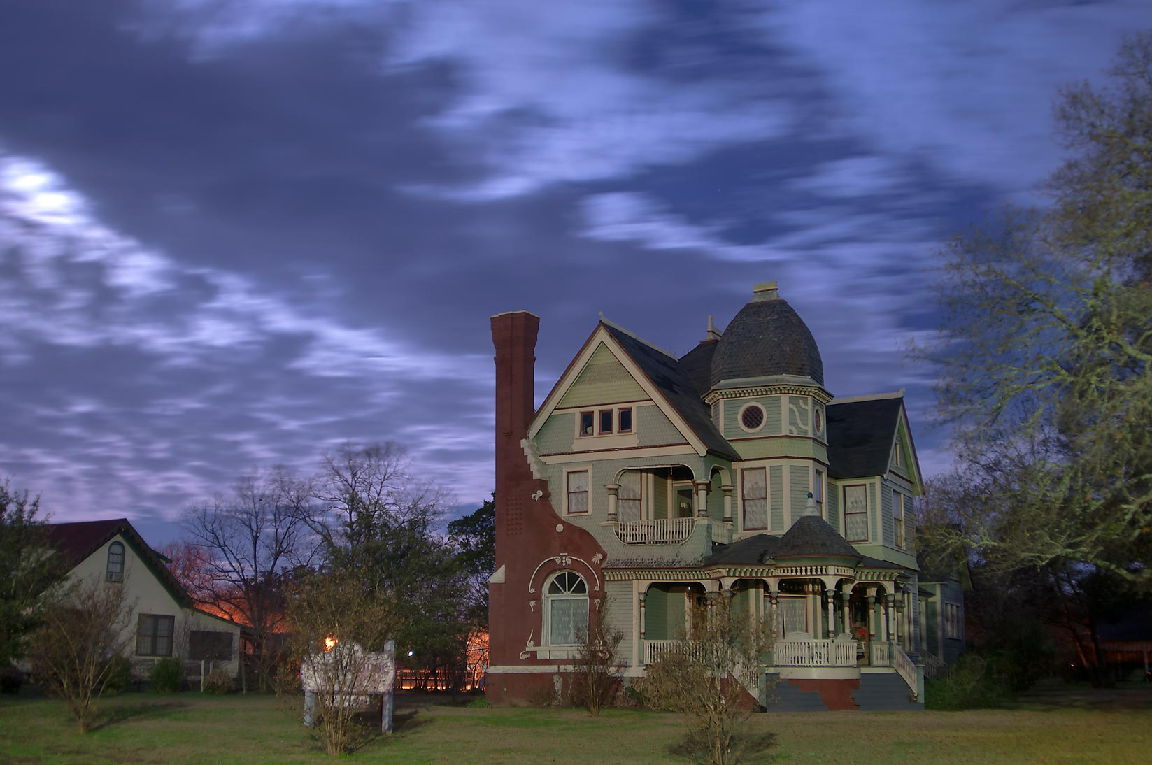 Parish House (1897, now Parish House Bed and...Pin Oak St. at morning. Calvert, Texas
