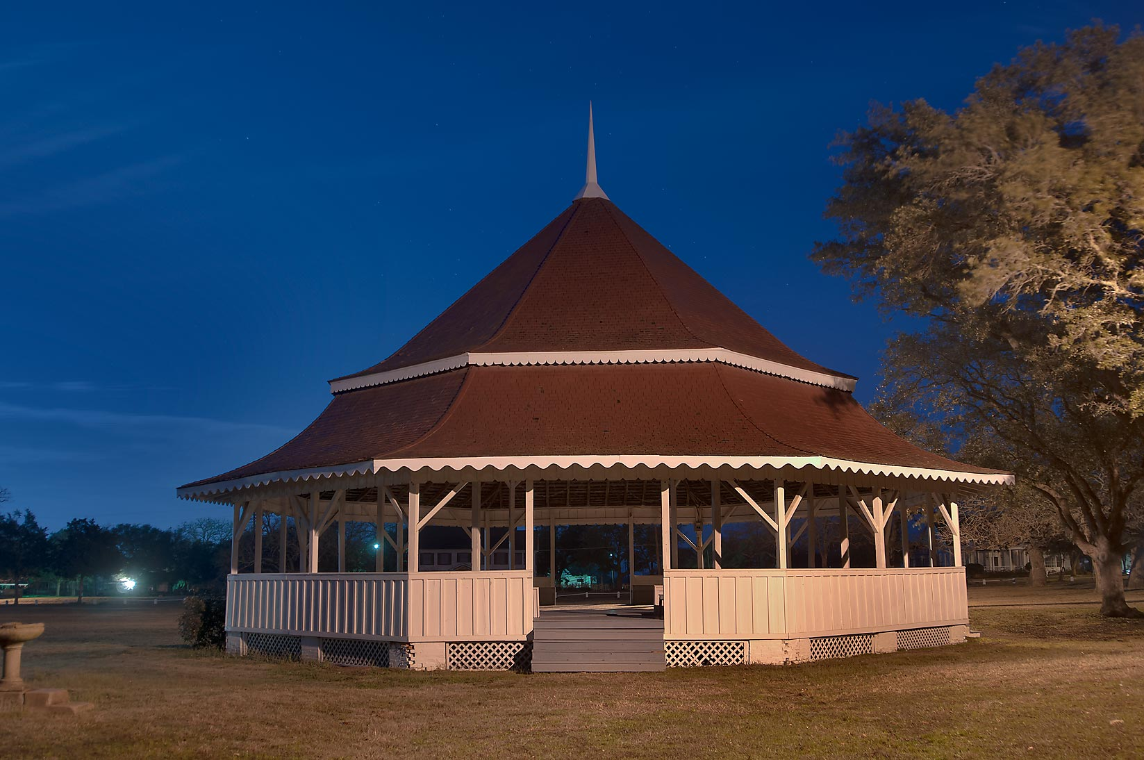 Gazebo-style octogonal bandstand (1895) (Karen...of Virginia Field Park. Calvert, Texas