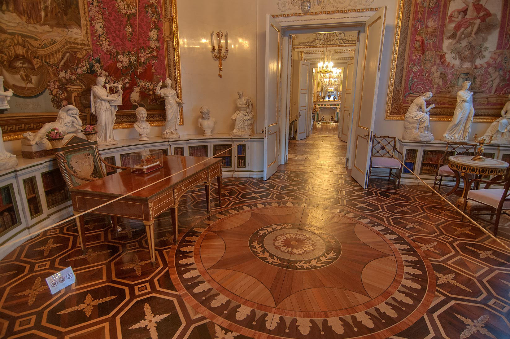 Parquet decoration in Pavlovsky Palace. Pavlovsk, a suburb of St.Petersburg, Russia