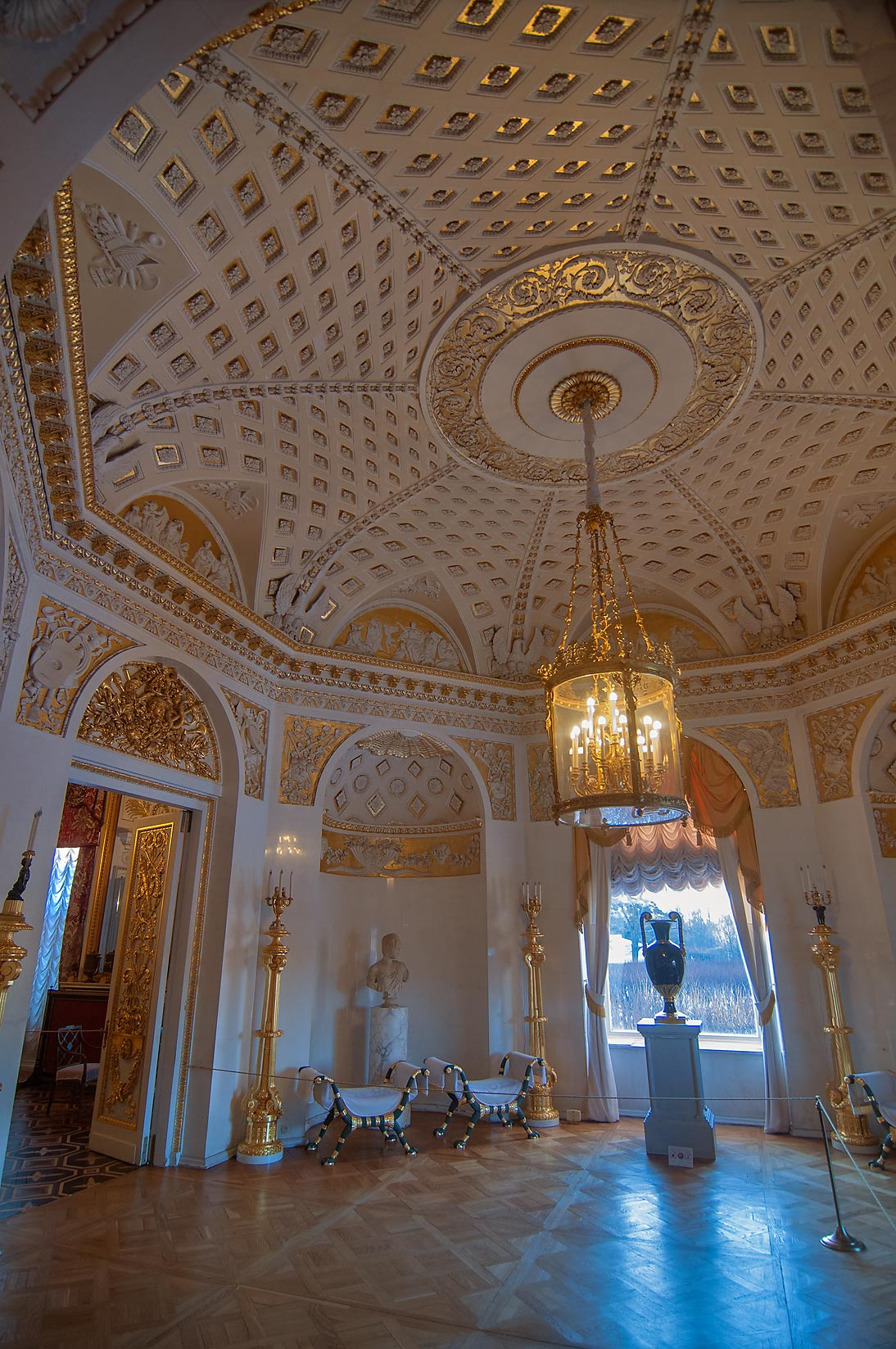 Round hall in Pavlovsky Palace. Pavlovsk, a suburb of St.Petersburg, Russia