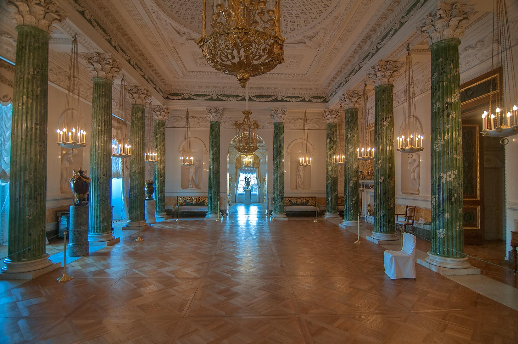 Large hall with green columns in Pavlovsky Palace...a suburb of St.Petersburg, Russia