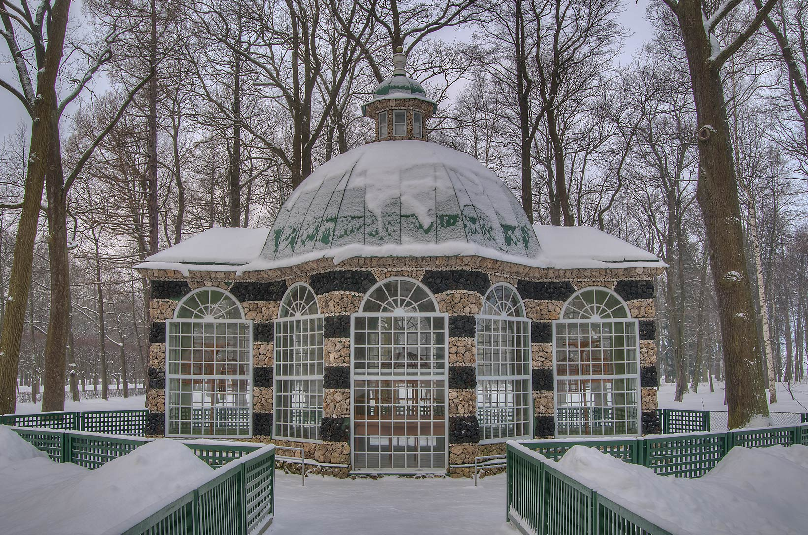 Gazebo built from sea shells in Peterhof. Near St.Petersburg, Russia