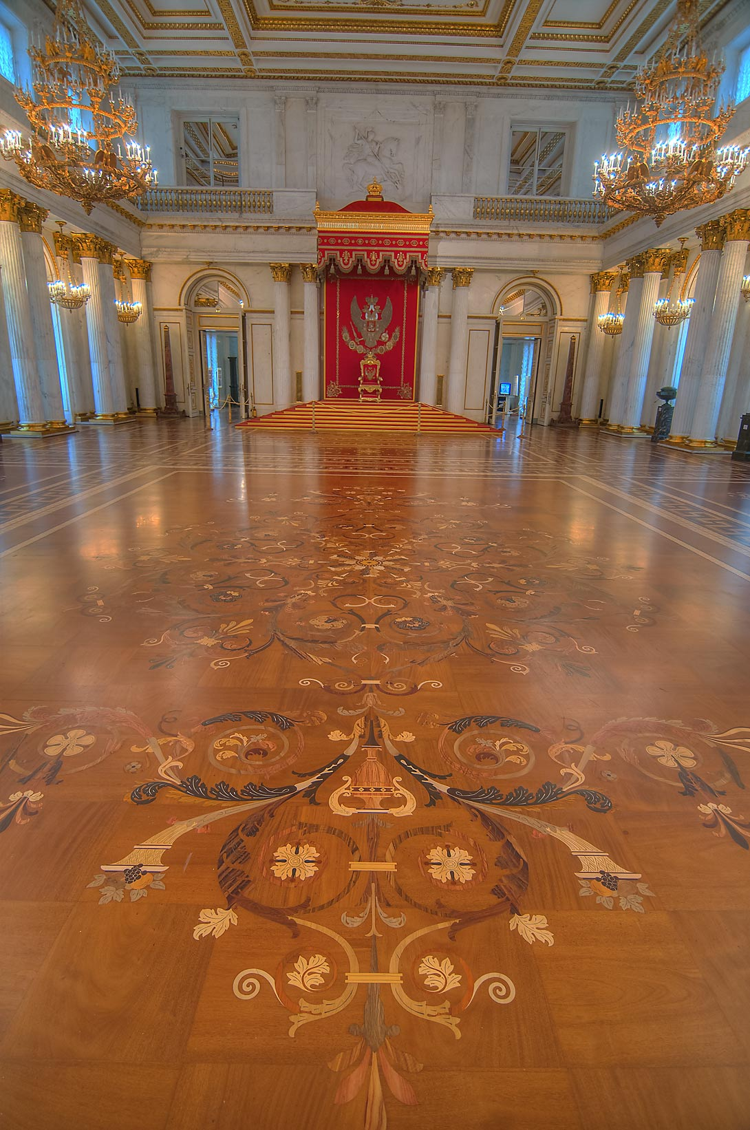 Parquet of Throne (Georgian) Hall in Hermitage Museum. St.Petersburg, Russia