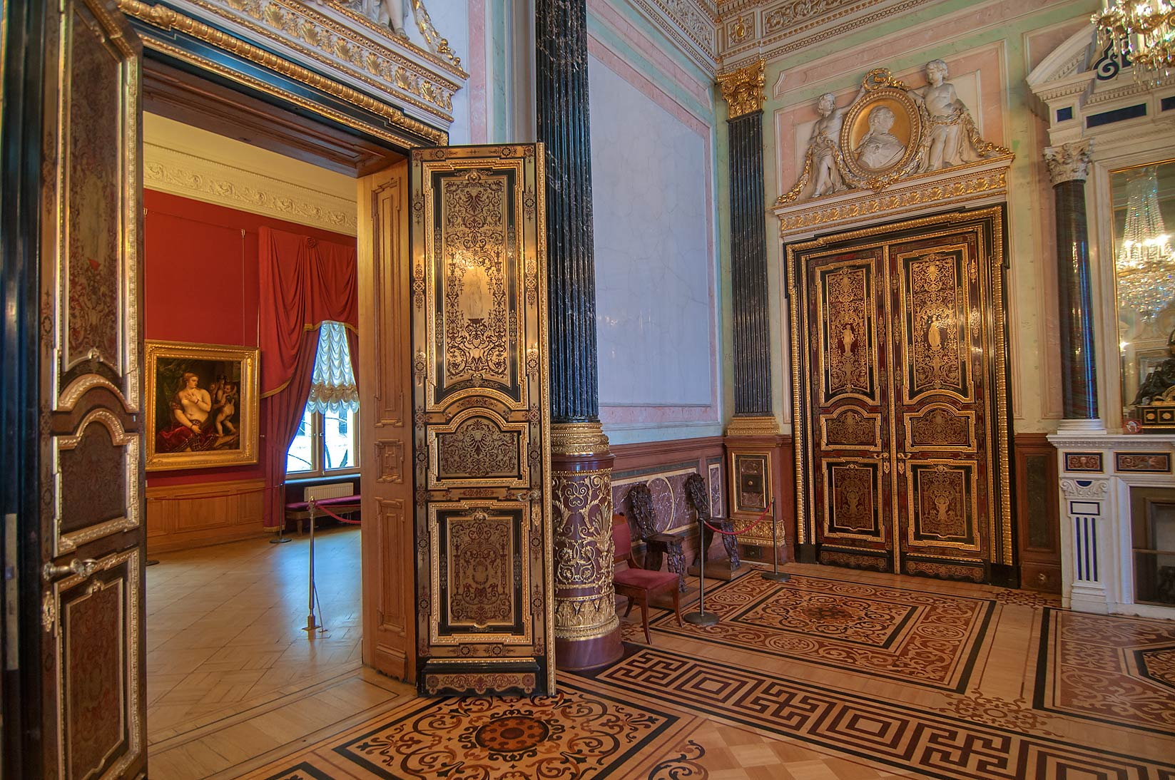 Area near Italian Cabinet in Hermitage Museum. St.Petersburg, Russia
