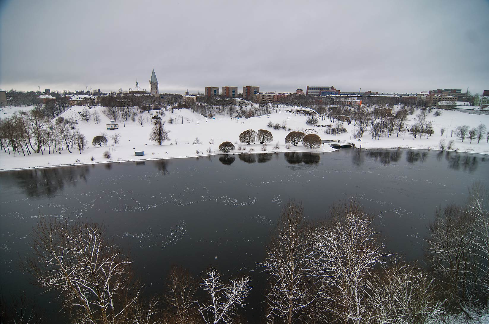 Narva River from walls of Ivan Gorod Fortress. Leningrad Region, Russia