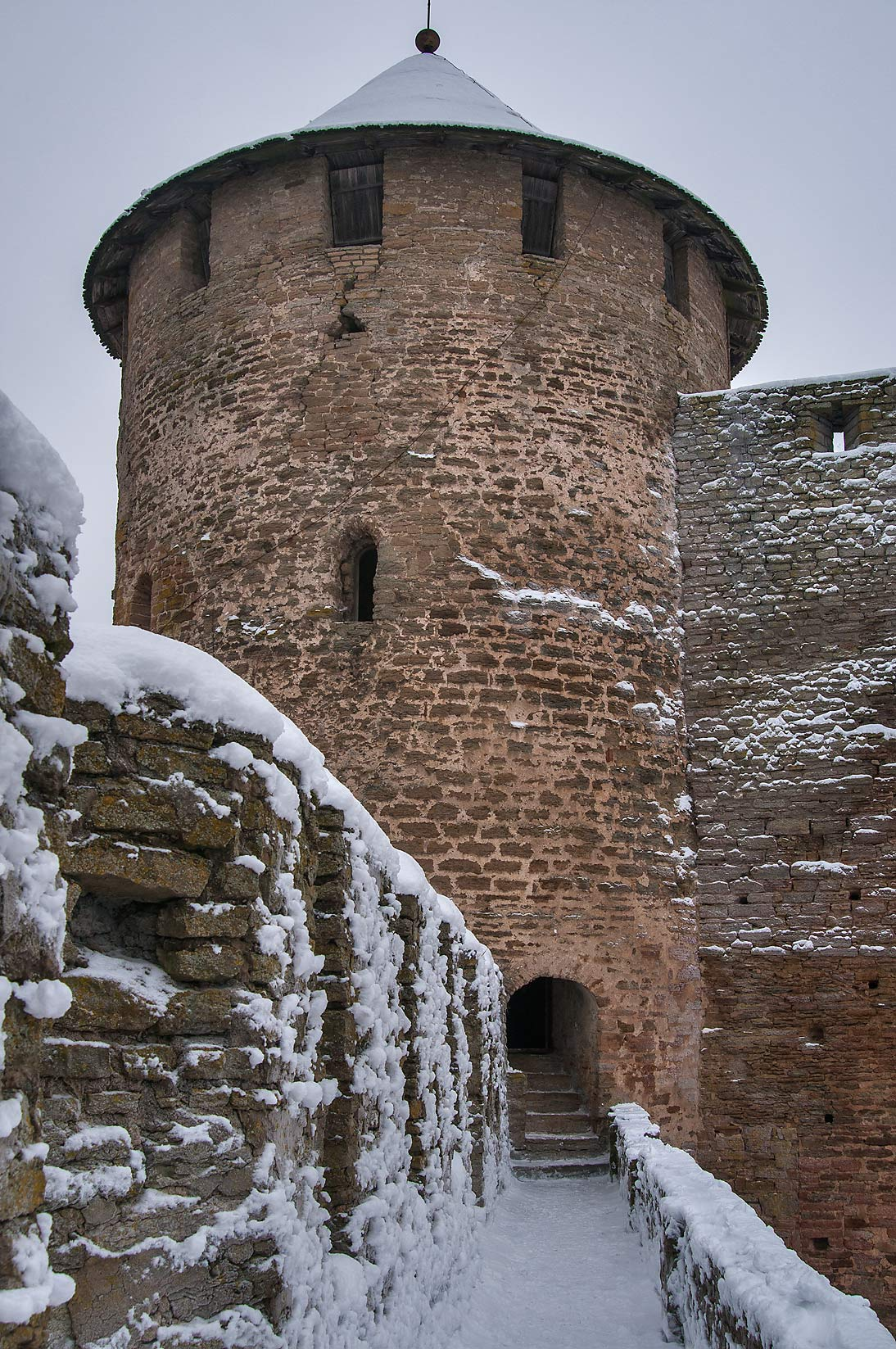 Round tower of Ivan Gorod Fortress, view from walls. Leningrad Region, Russia