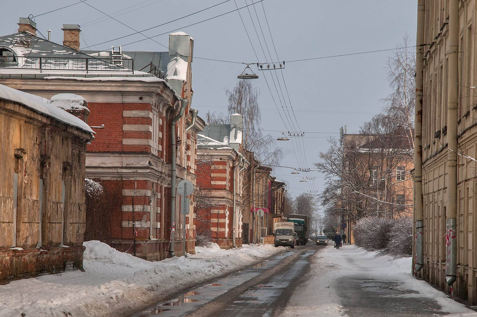 South end of Komsomola St.. Kronstadt (part of St.Petersburg), Russia