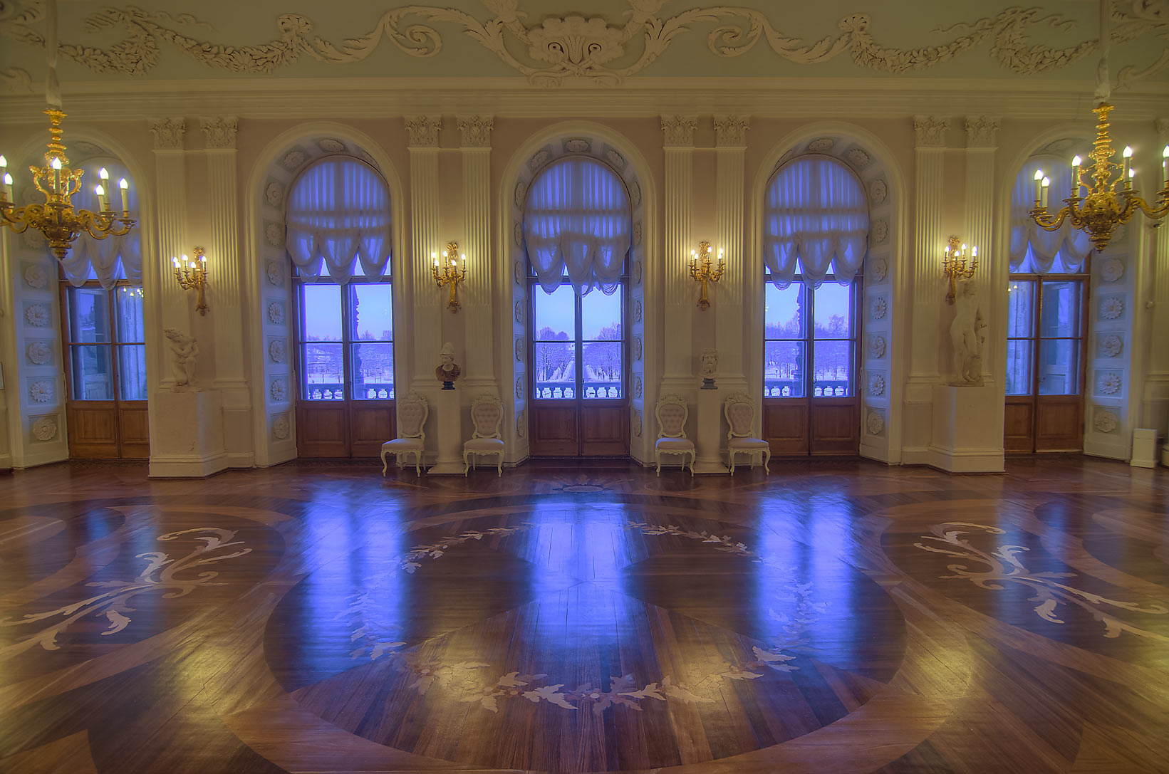 Large hall in Gatchina Palace. Gatchina, suburb of St.Petersburg, Russia