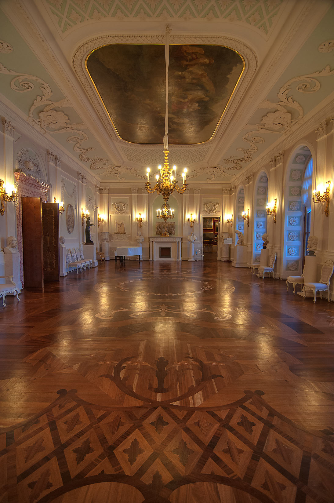 Parquet in Gatchina Palace. Gatchina, suburb of St.Petersburg, Russia