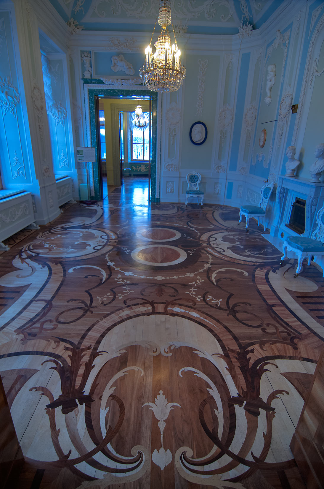 Fancy parquet in Gatchina Palace. Gatchina, suburb of St.Petersburg, Russia