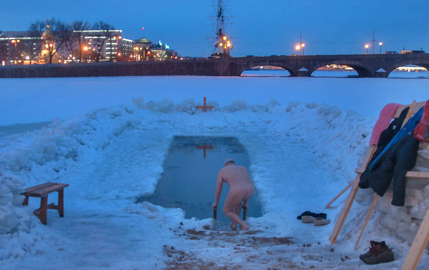Winter swimming from a bastion of Peter and Paul Fortress. St.Petersburg, Russia