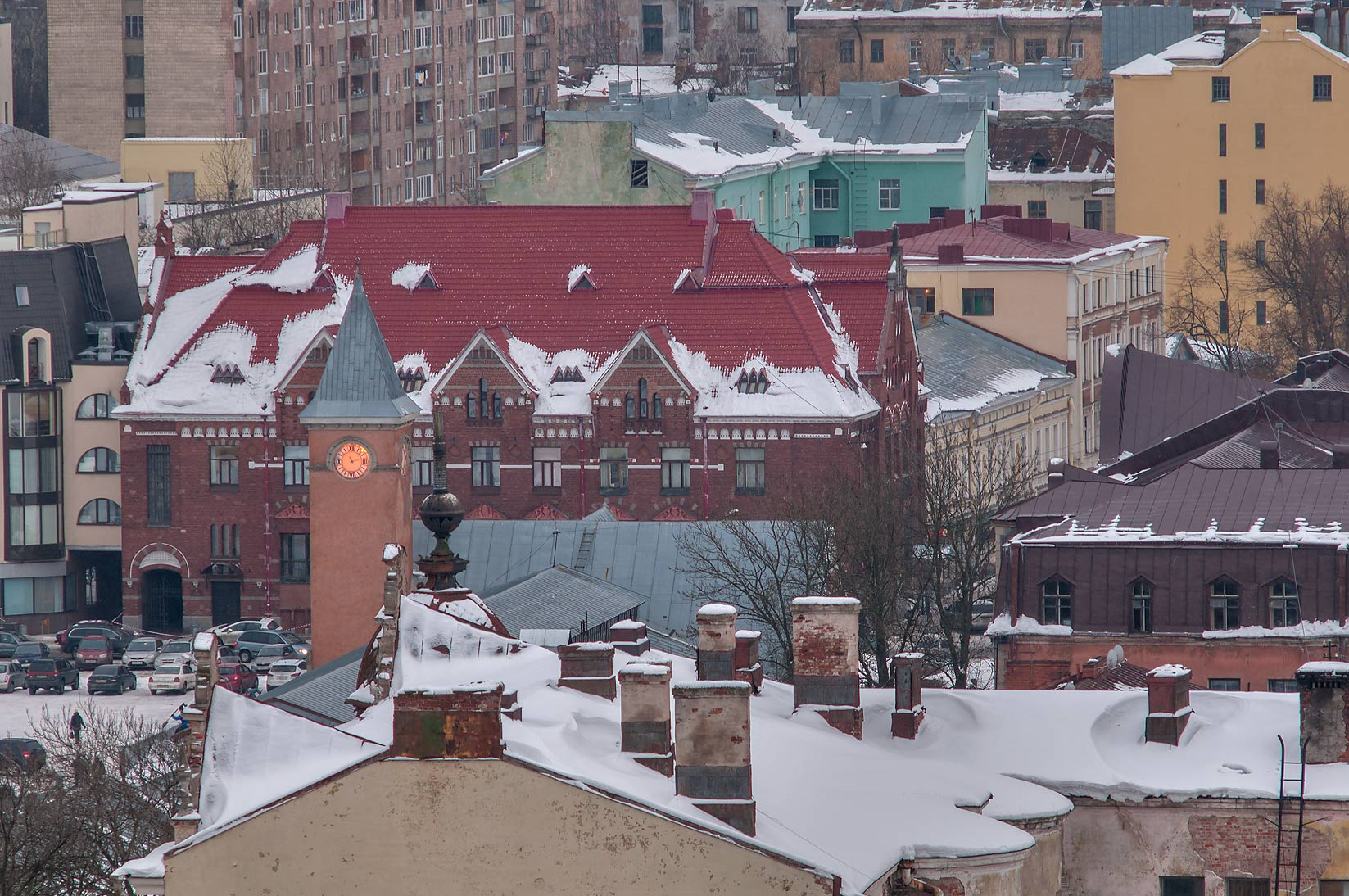 Area of Market Square from St. Olaf Tower of Vyborg Castle. Vyborg, Russia