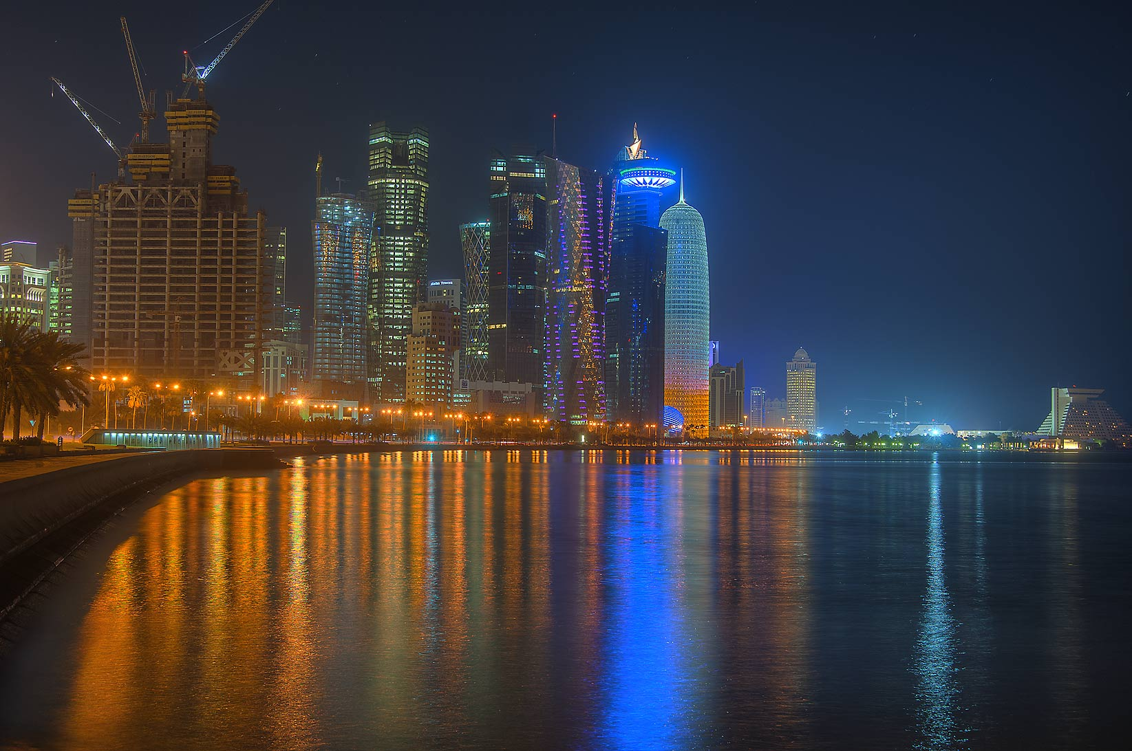 West Bay and Corniche at morning. Doha, Qatar