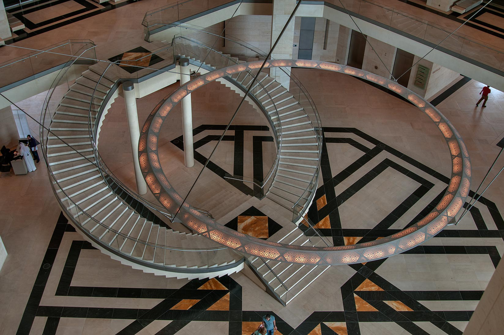 Chandelier and stairs of Museum of Islamic Art from the fourth floor. Doha, Qatar
