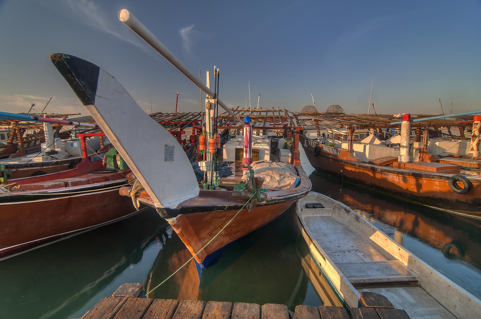 Prow of dhow fishing boat on a pier in Al Wakra. Qatar