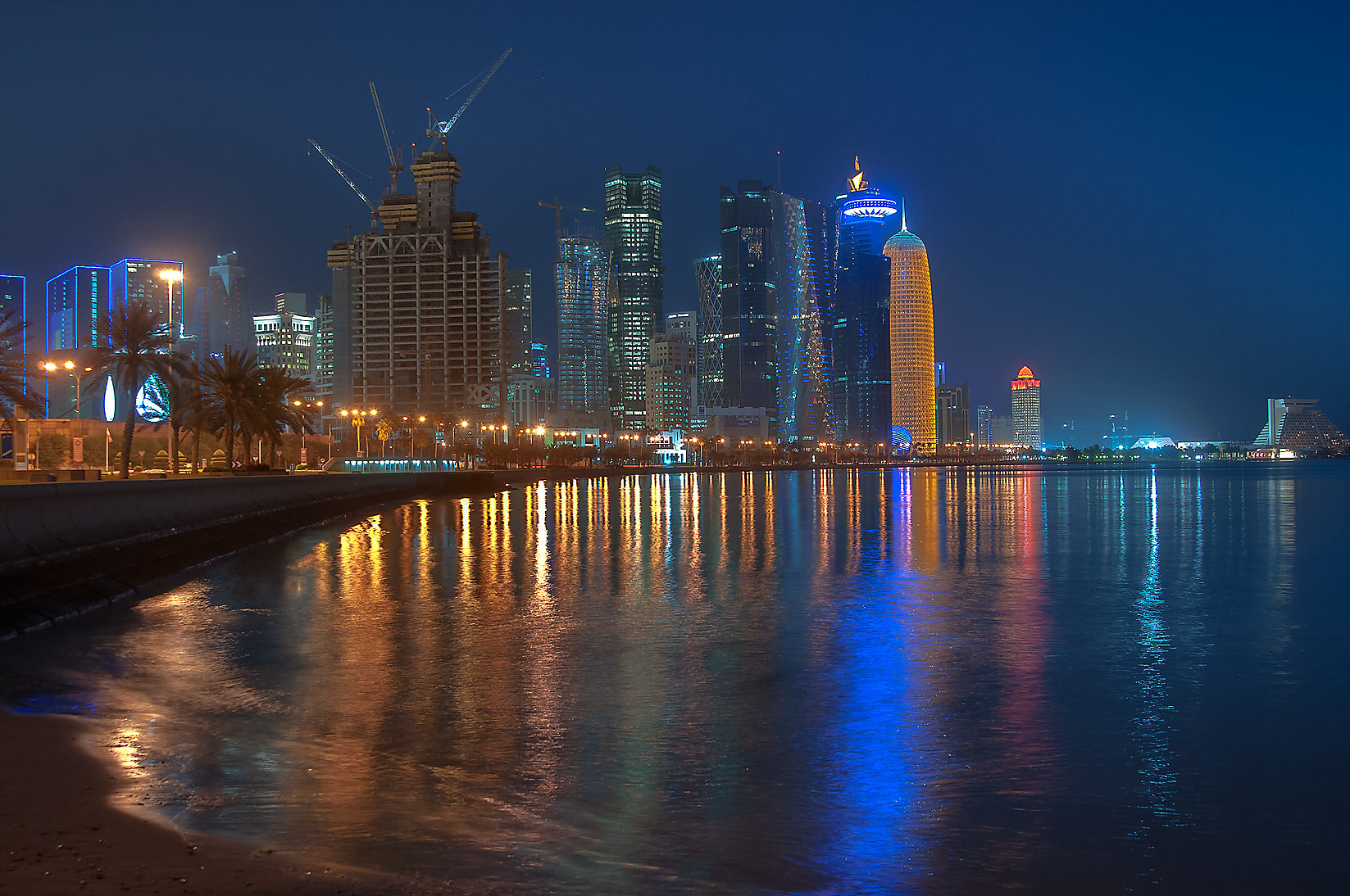 West Bay area from Corniche promenade near Al Bidda Park. Doha, Qatar