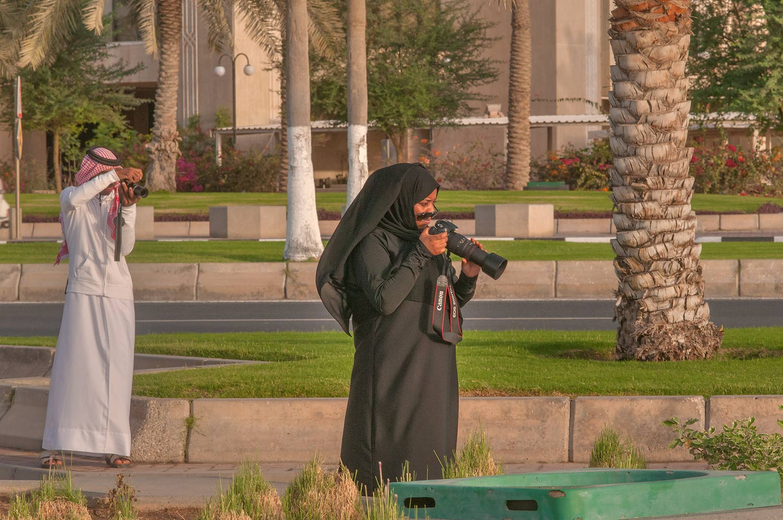 Taking pictures of sunrise from Corniche promenade. Doha, Qatar