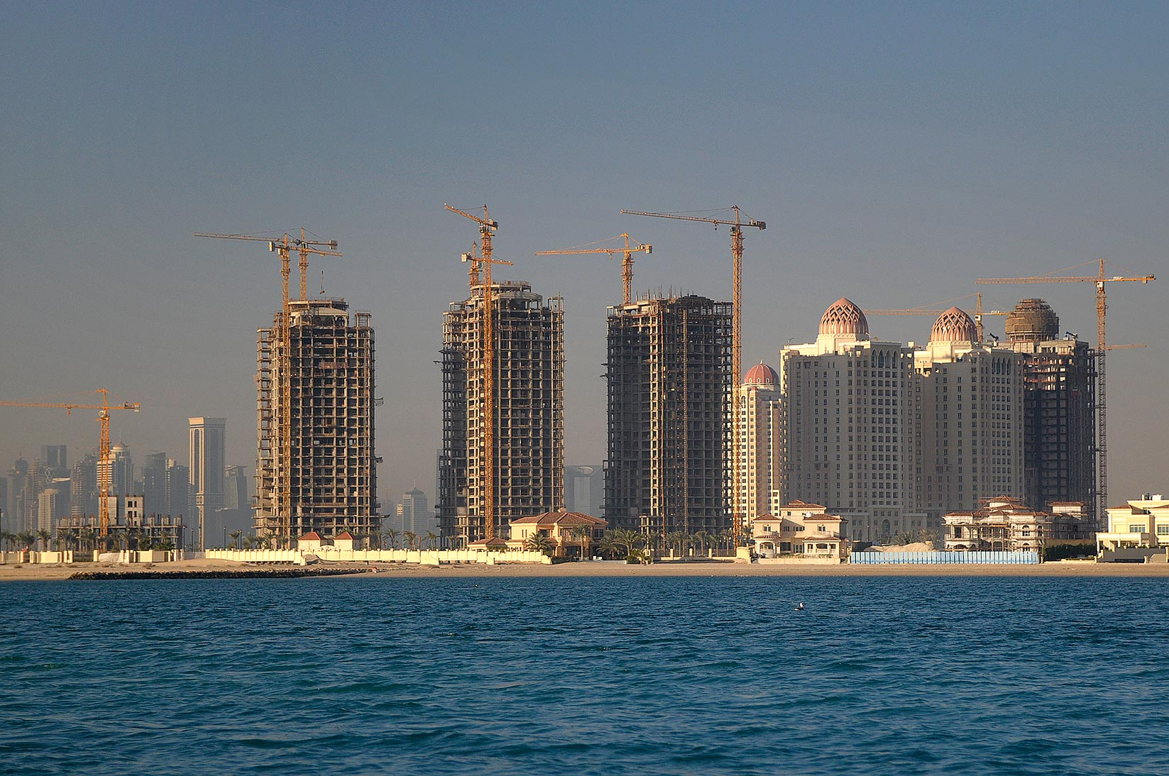 View of Pearl Qatar Development in Doha from a boat. Qatar