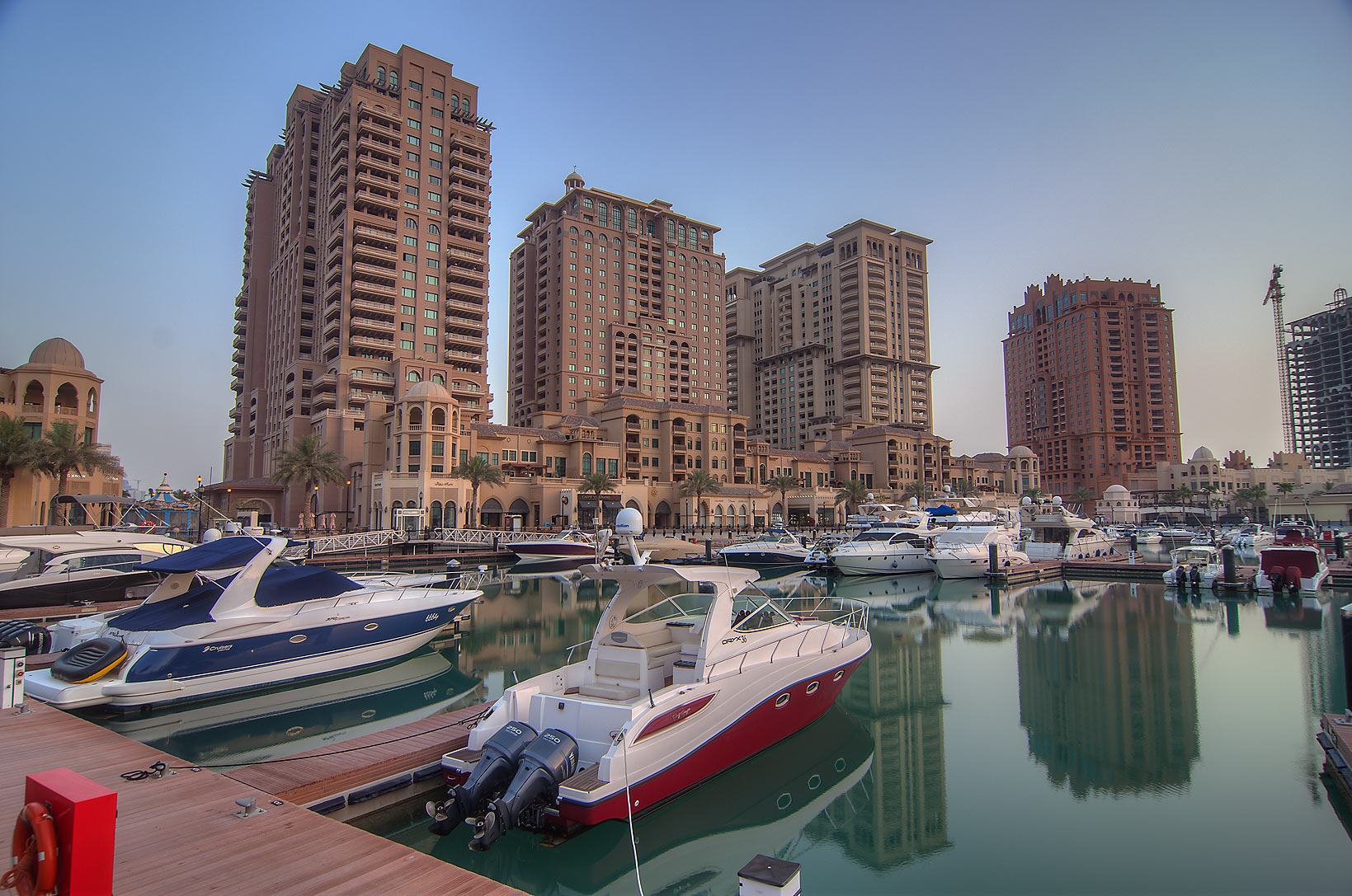 Boats in Porto Arabia in Pearl Qatar Development. Doha, Qatar