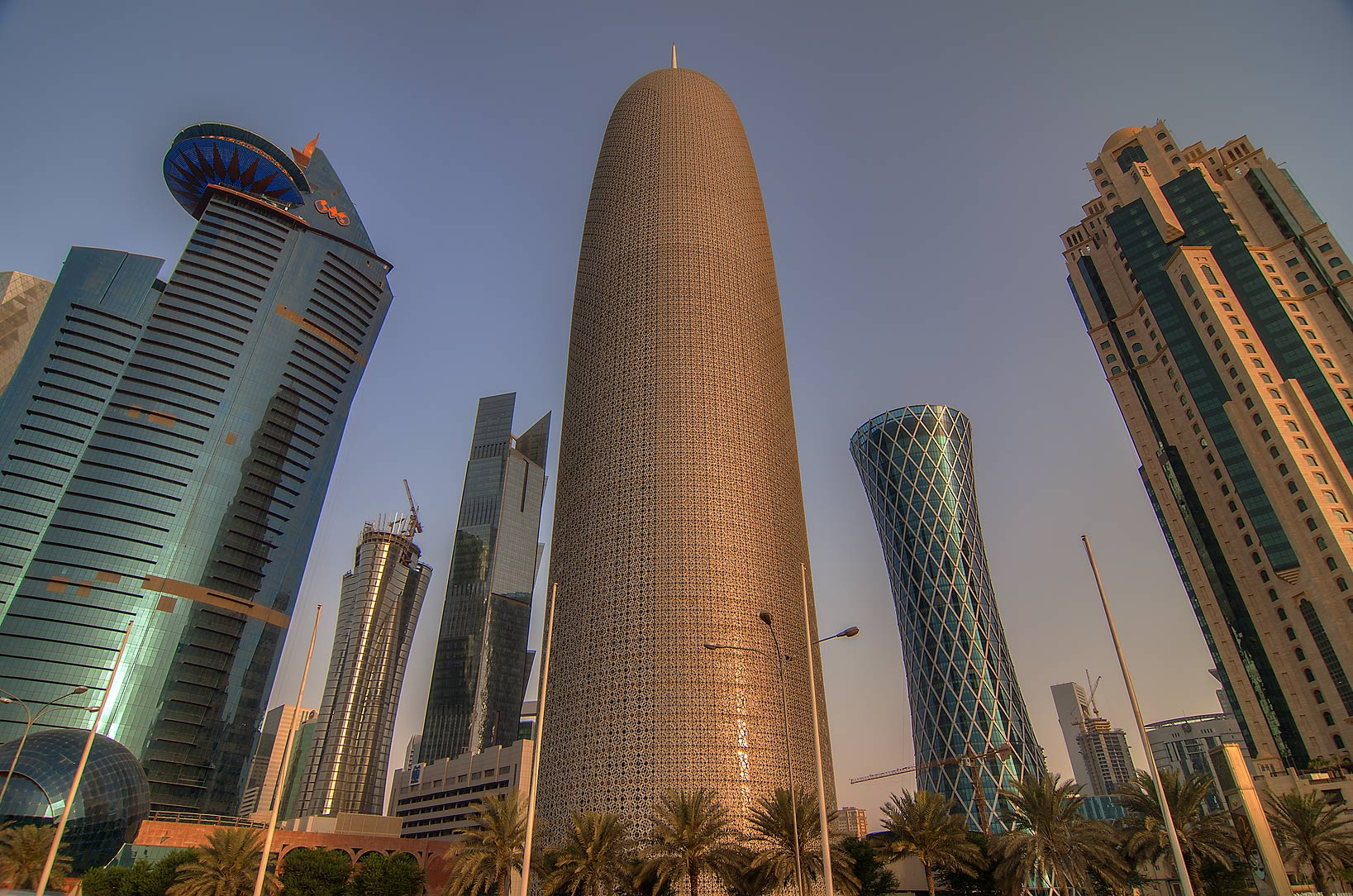 West bay from Corniche promenade at sunrise. Doha, Qatar