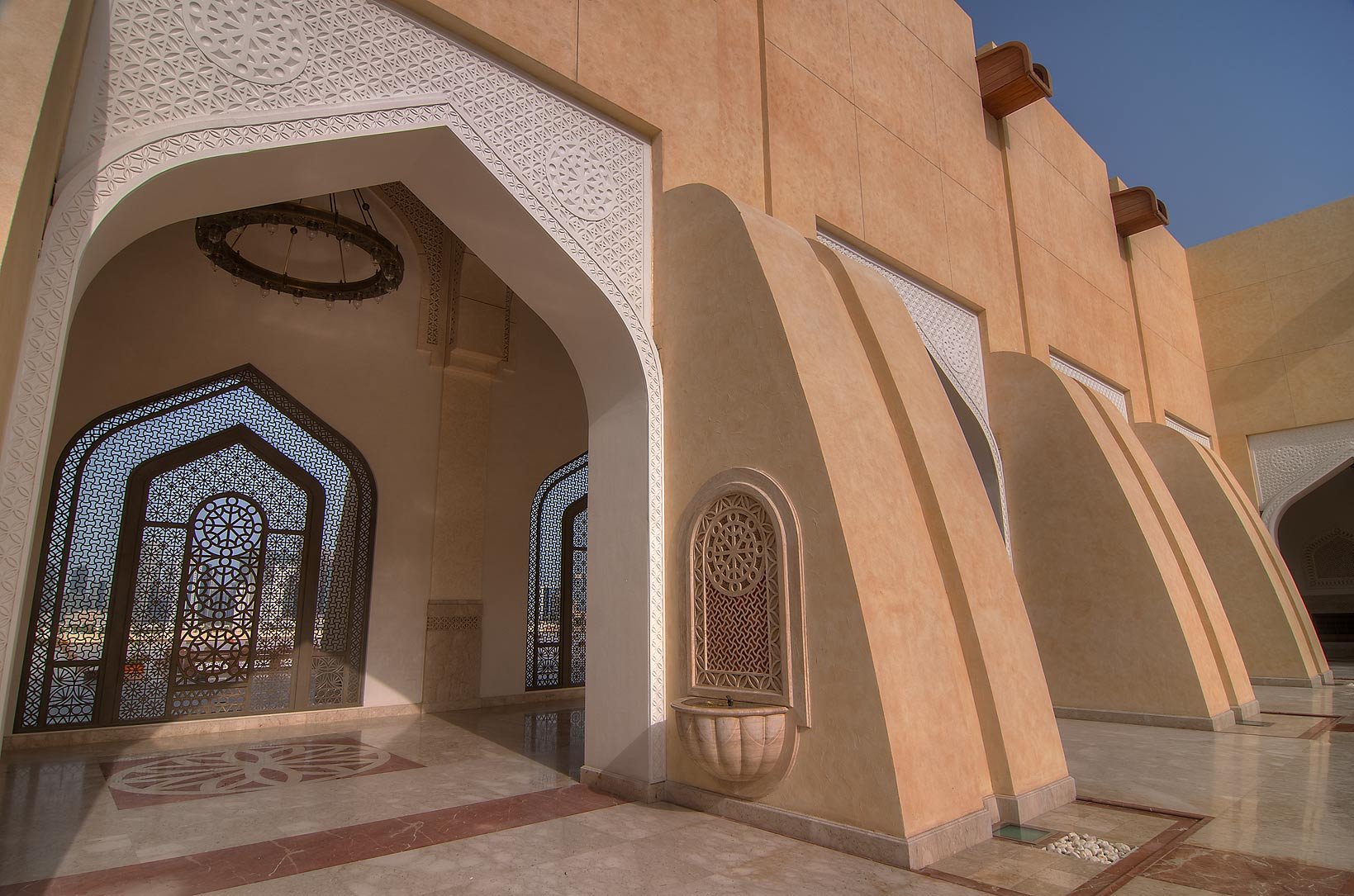 Entrance of a courtyard of State Mosque (Sheikh...Ibn Abdul Wahhab Mosque). Doha, Qatar