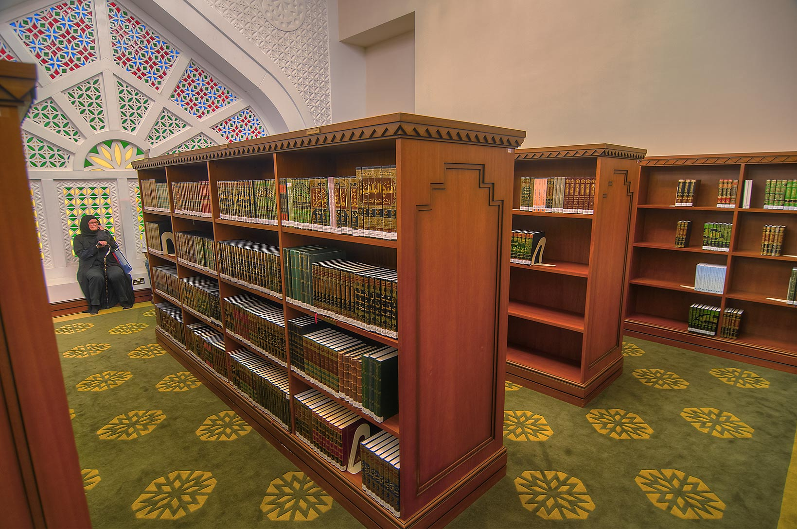 Bookshelves filled by Quran books in library of...Ibn Abdul Wahhab Mosque). Doha, Qatar
