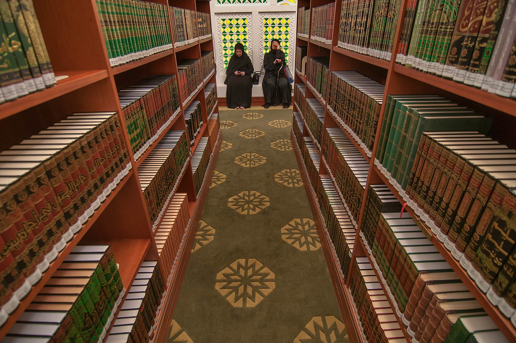 Rows of Quran books (Islamic religious texts) in...Ibn Abdul Wahhab Mosque). Doha, Qatar