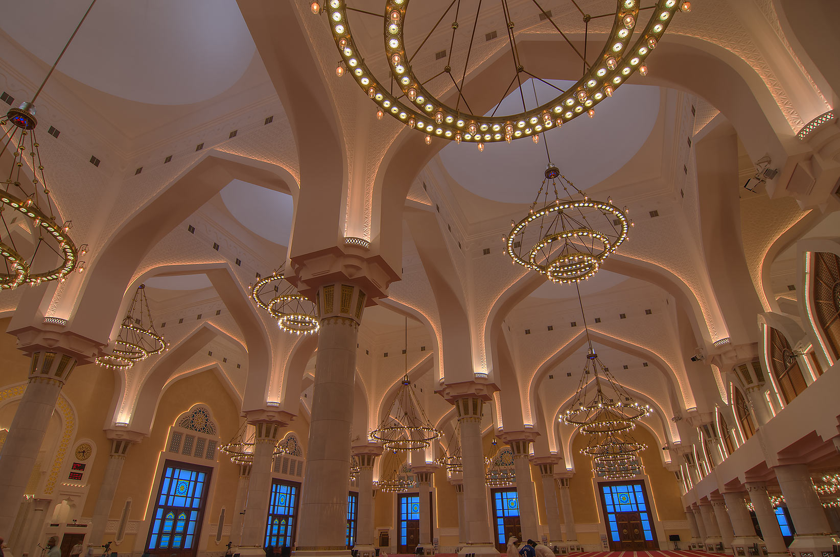 Vaults and columns in prayer hall (musallah) in...Ibn Abdul Wahhab Mosque). Doha, Qatar