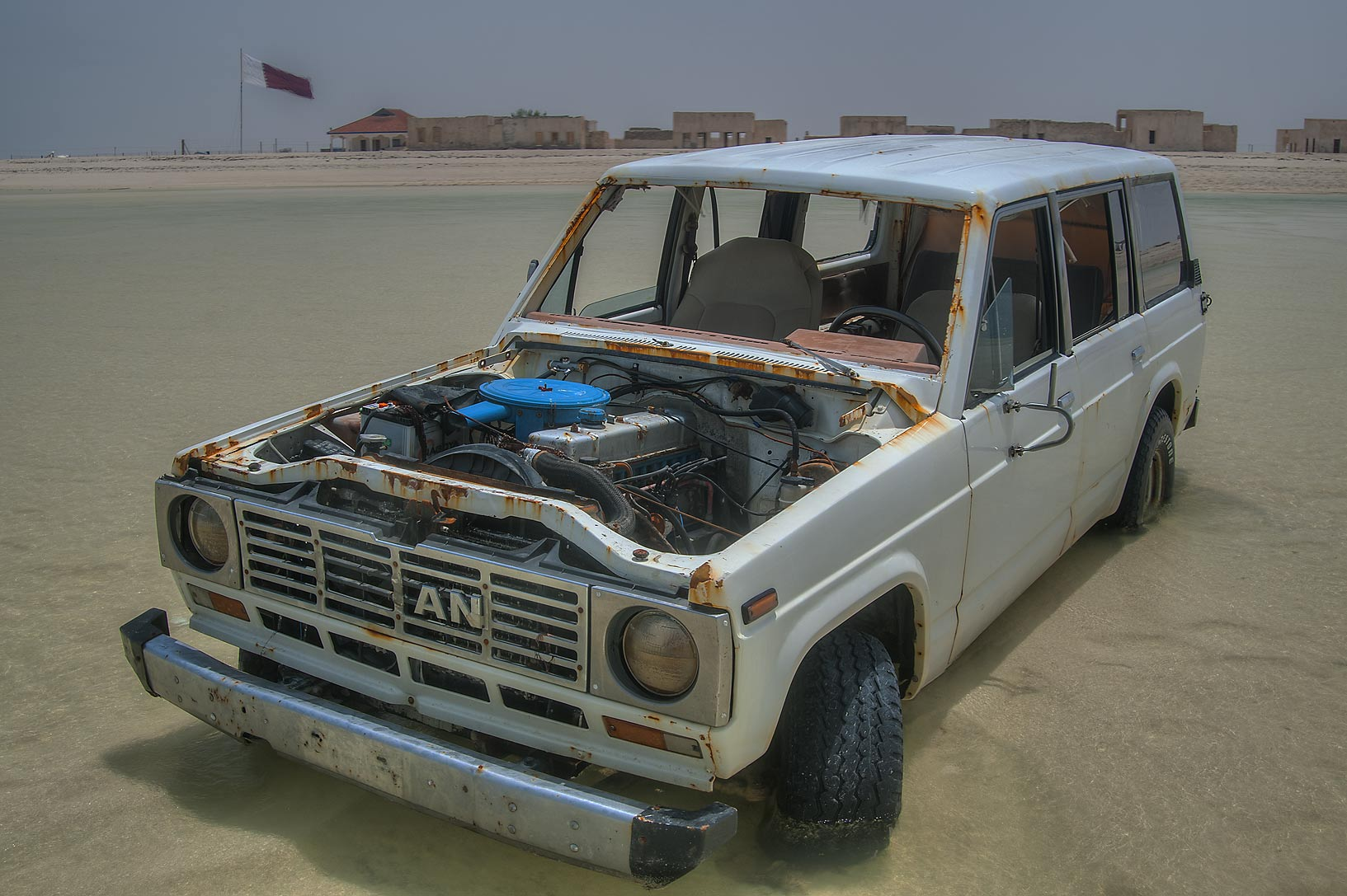 Abandoned car in Persian Gulf near Al Mafjar village, northern area near Ruwais. Qatar