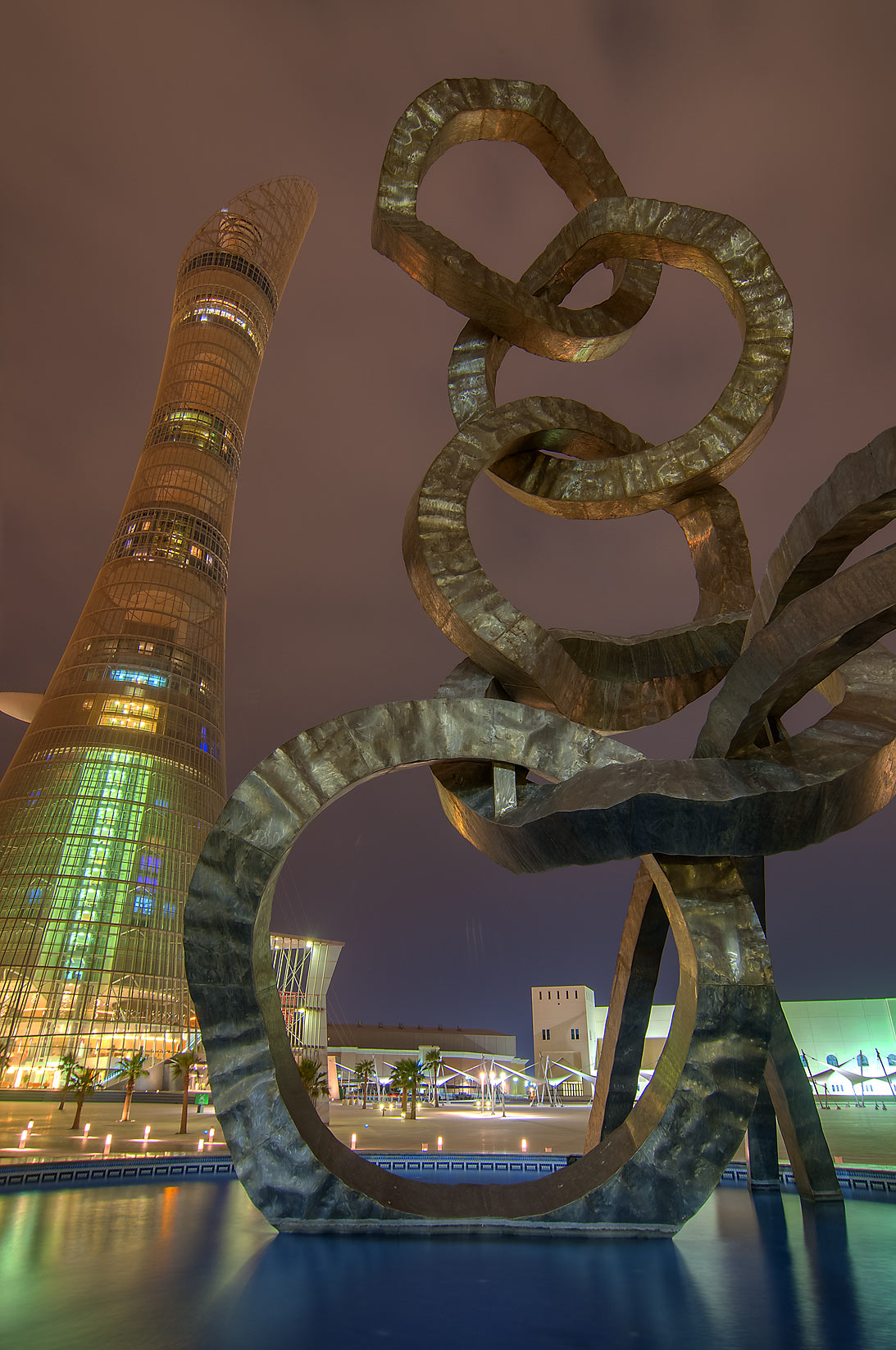 Torch Hotel and Olympic rings sculpture in Aspire Zone. Doha, Qatar