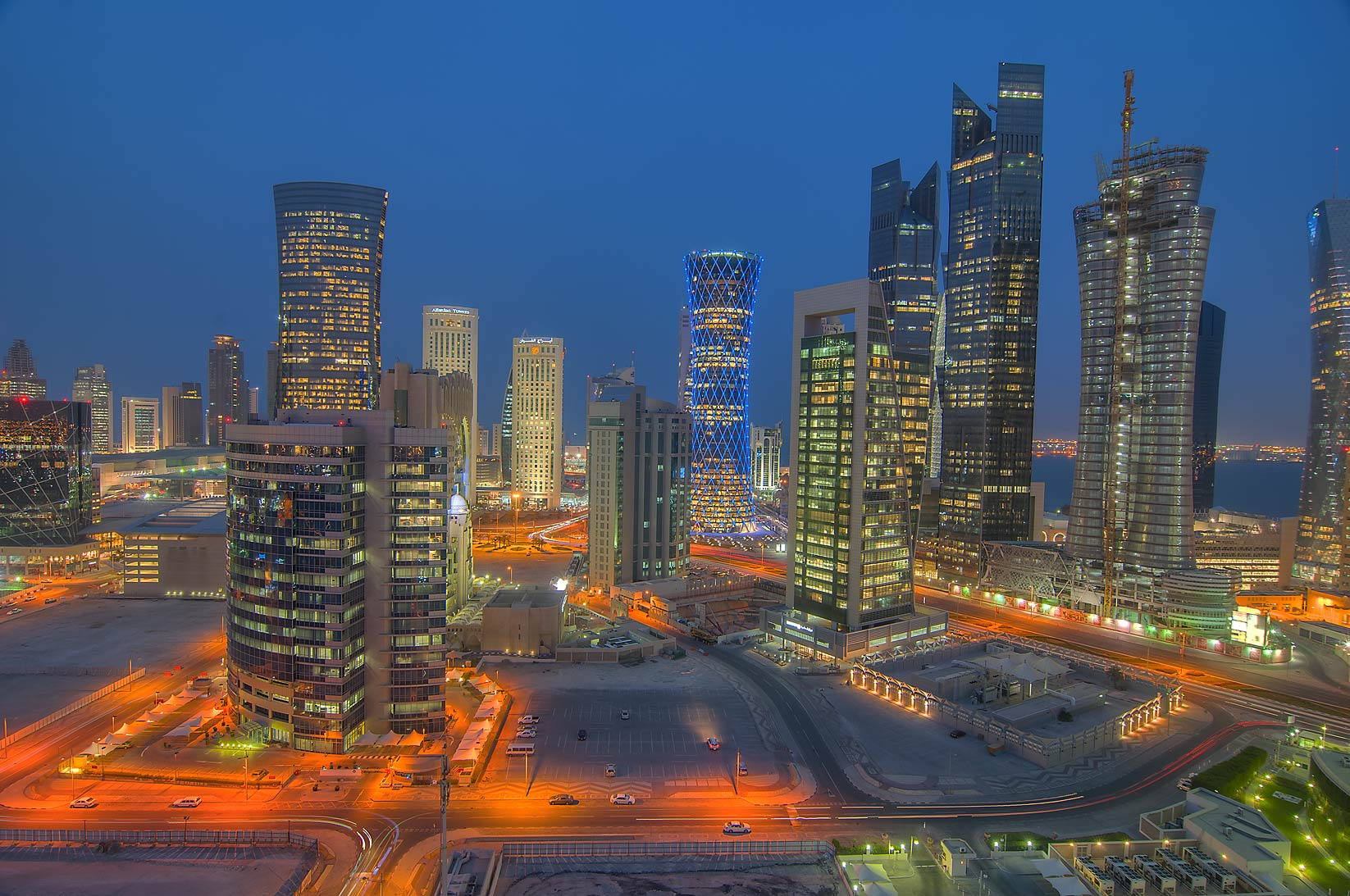 Towers to the east, view from Apartment 17-A04 of...in West Bay at evening. Doha, Qatar