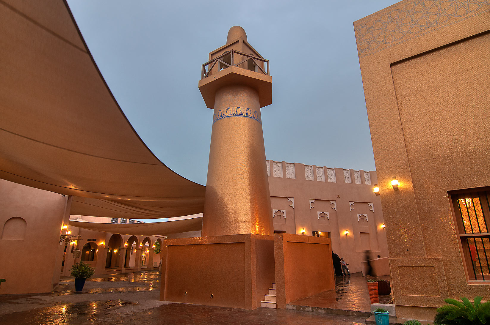 Gilded mosque minaret in Katara Cultural Village. Doha, Qatar