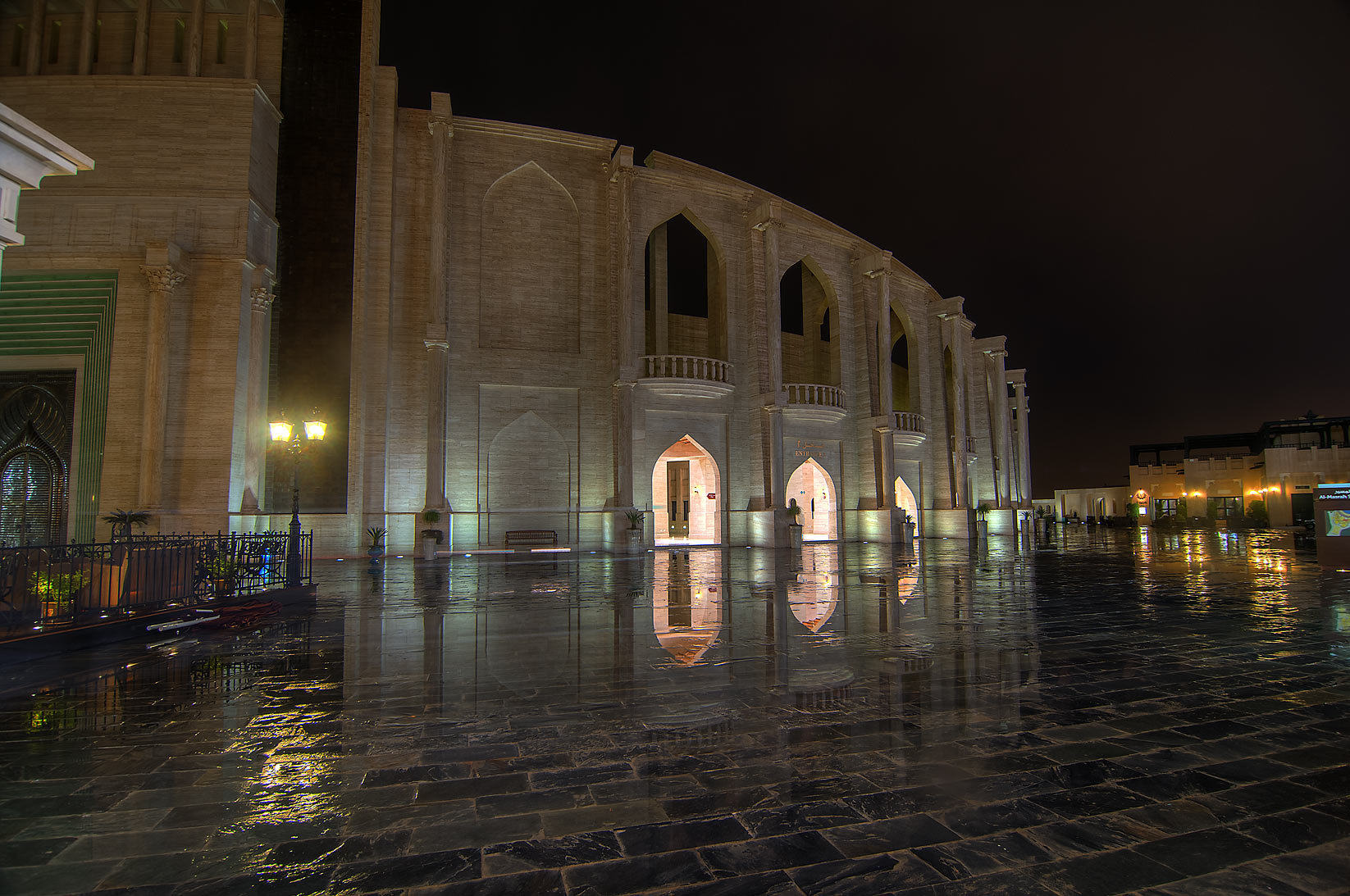 Reflections of amphitheatre in Katara Cultural Village at rain. Doha, Qatar