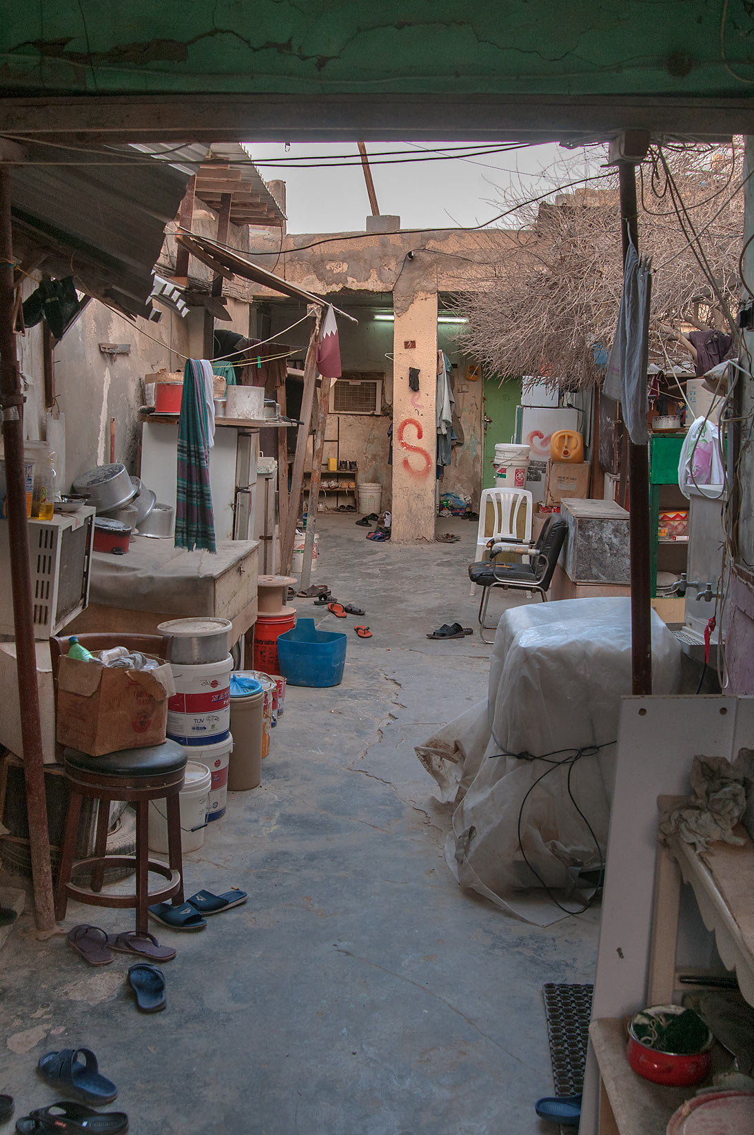 Shared worker's apartment at Umm Wishah St. in Musheirib area. Doha, Qatar