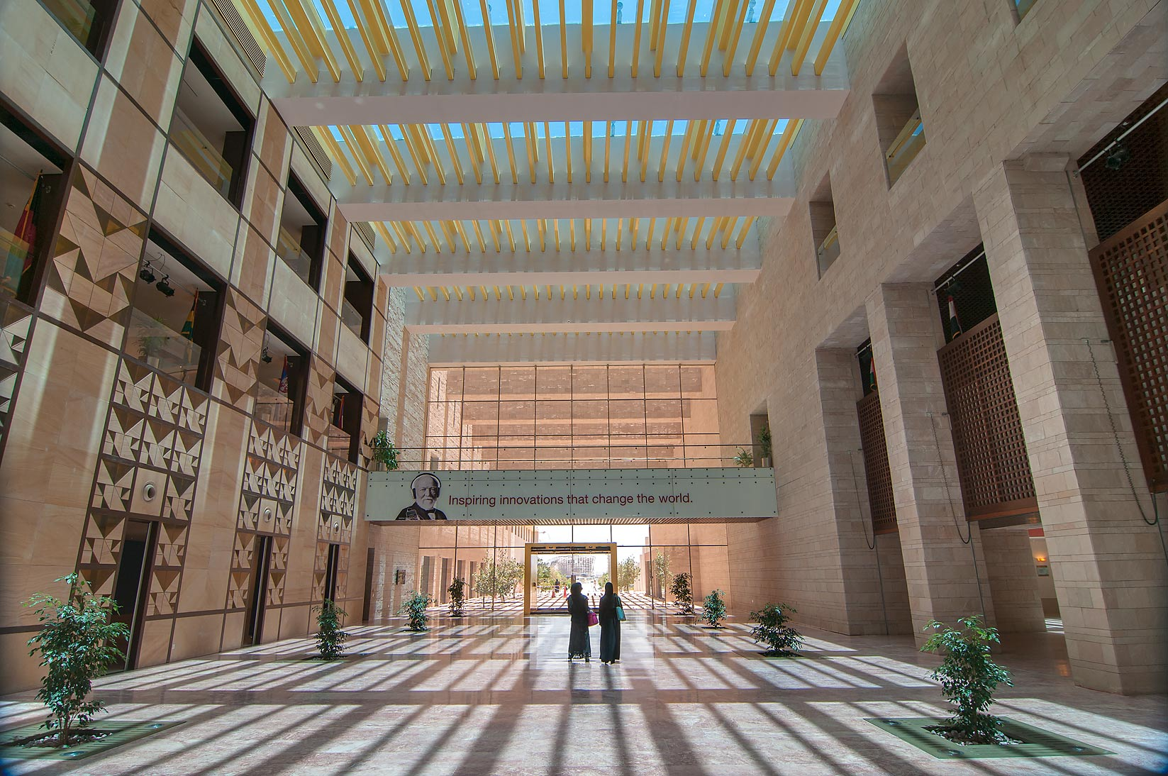 Atrium of Carnegie Mellon University in Education City campus. Doha, Qatar